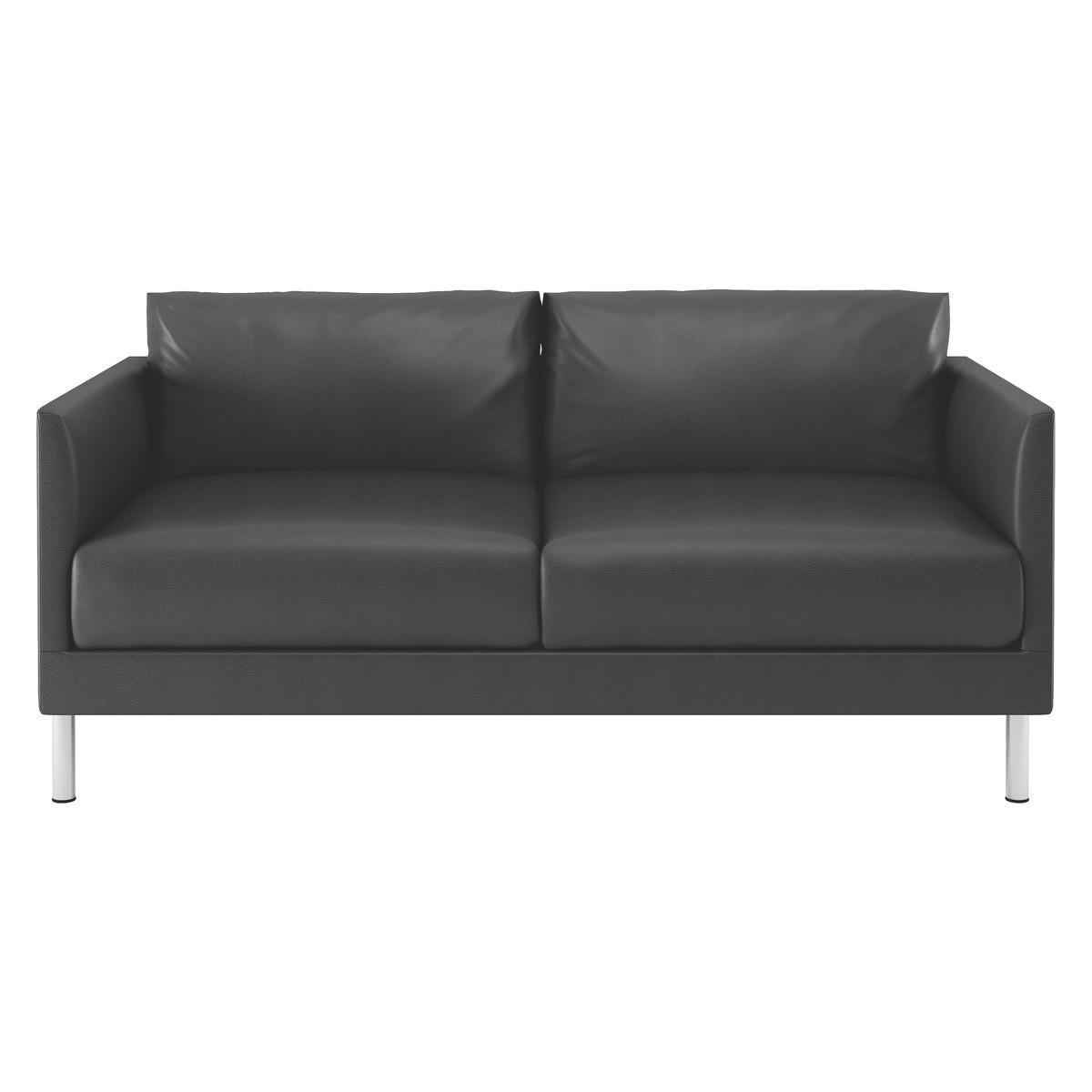 Hyde Black Leather 2 Seater Sofa, Metal Legs | Buy Now At Habitat Uk Regarding Black 2 Seater Sofas (Image 12 of 20)