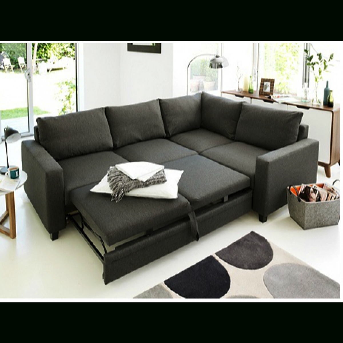 Hygena Seattle Right Hand Corner Sofa Bed – Charcoal (View 5 of 20)