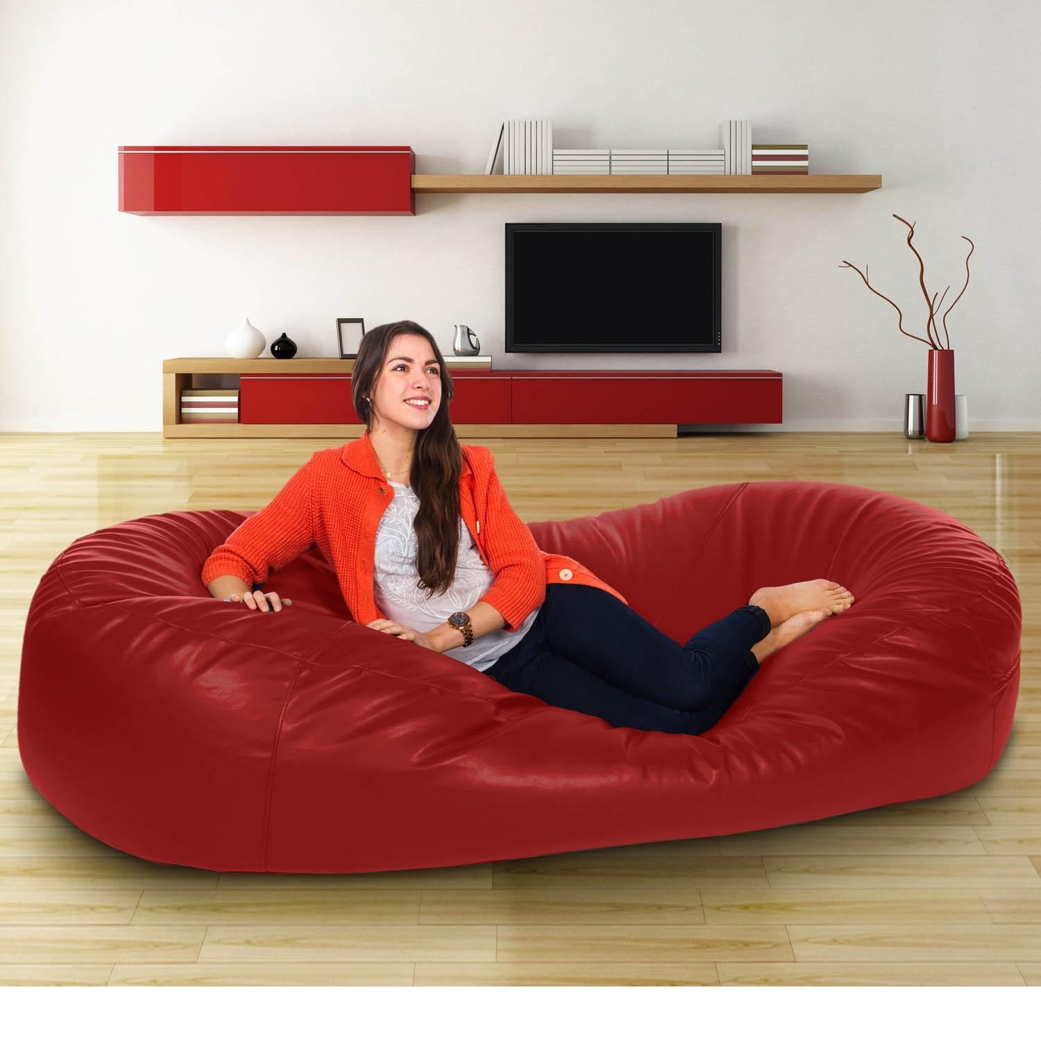 Ideas Of A Leather Bean Bag Sofa — Home Ideas Collection Regarding Bean Bag Sofas And Chairs (Image 12 of 20)