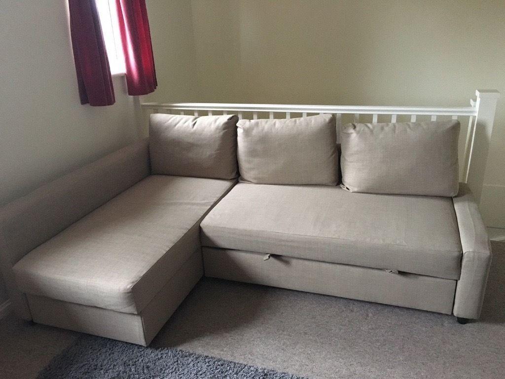 Ikea Friheten Corner Sofa Bed With Storage In Beige (View 17 of 20)