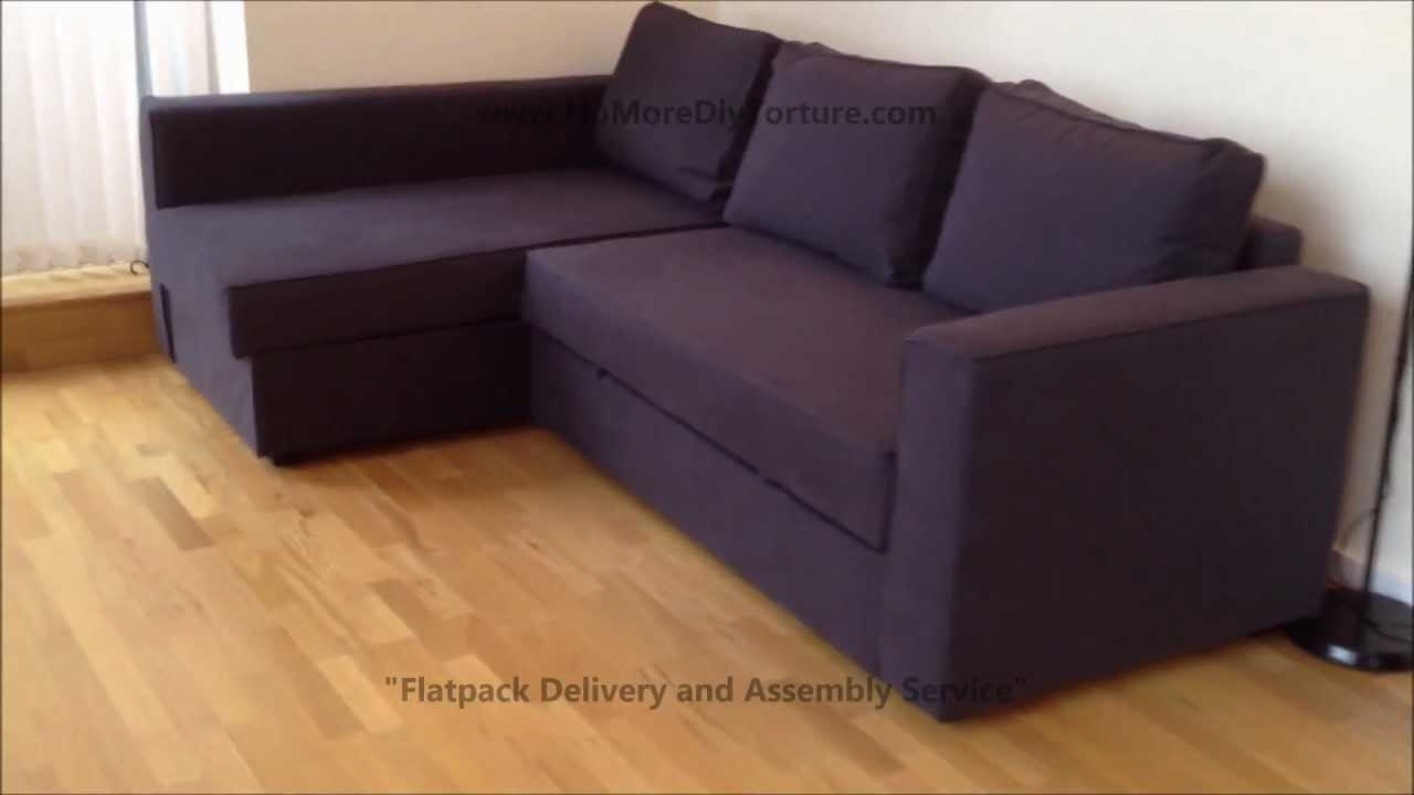 Ikea Manstad Corner Sofa Bed With Storage – Youtube Within Ikea Sectional Sofa Bed (Image 11 of 20)