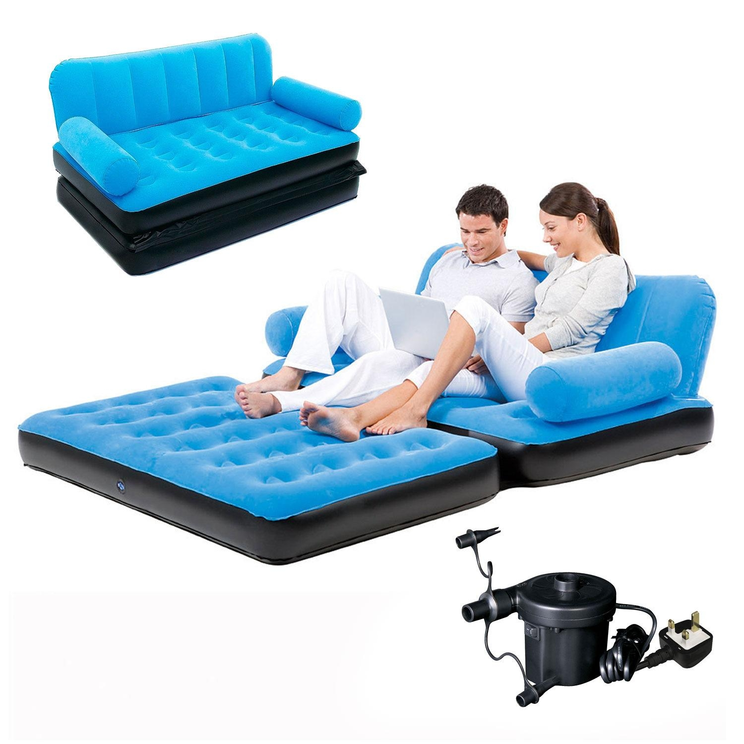 Inflatable Double Sofa Air Bed Couch Blow Up Mattress With Pump | Ebay Intended For Inflatable Sofa Beds Mattress (Image 4 of 20)