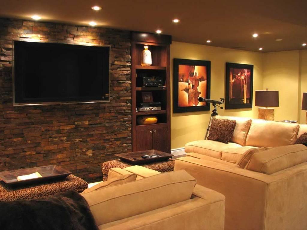 Interior : Impressive Home Theater Room Decor Feat Dark Brown Regarding Media Room Sectional Sofas (View 11 of 20)