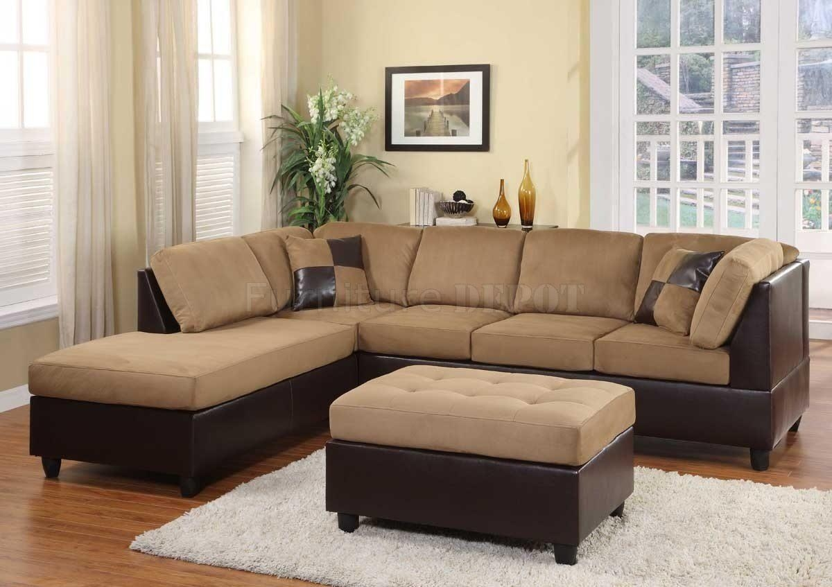 Interior: Impressive Microsuede Sectional Collections Sets For In Leather And Suede Sectional Sofa (Image 11 of 20)