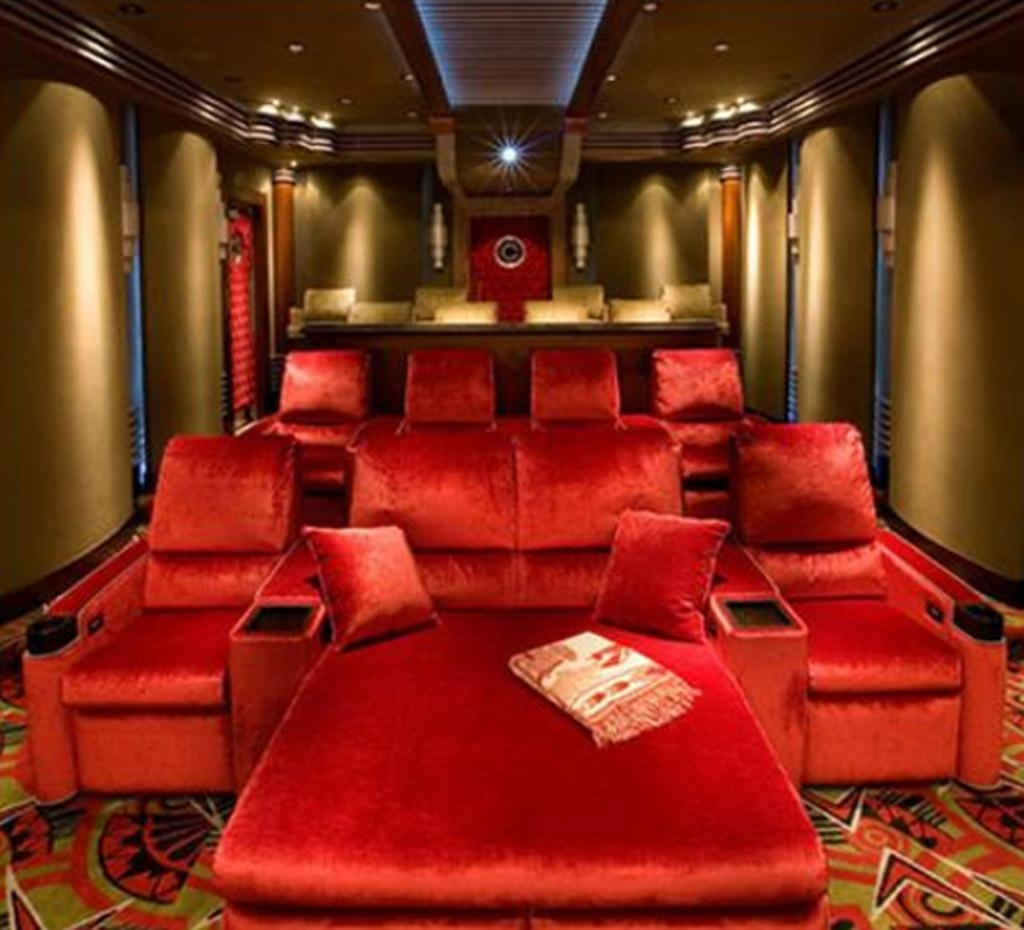 Interior : Spacipious Home Theater Room Interior Design With Red Regarding Theater Room Sofas (Image 14 of 20)