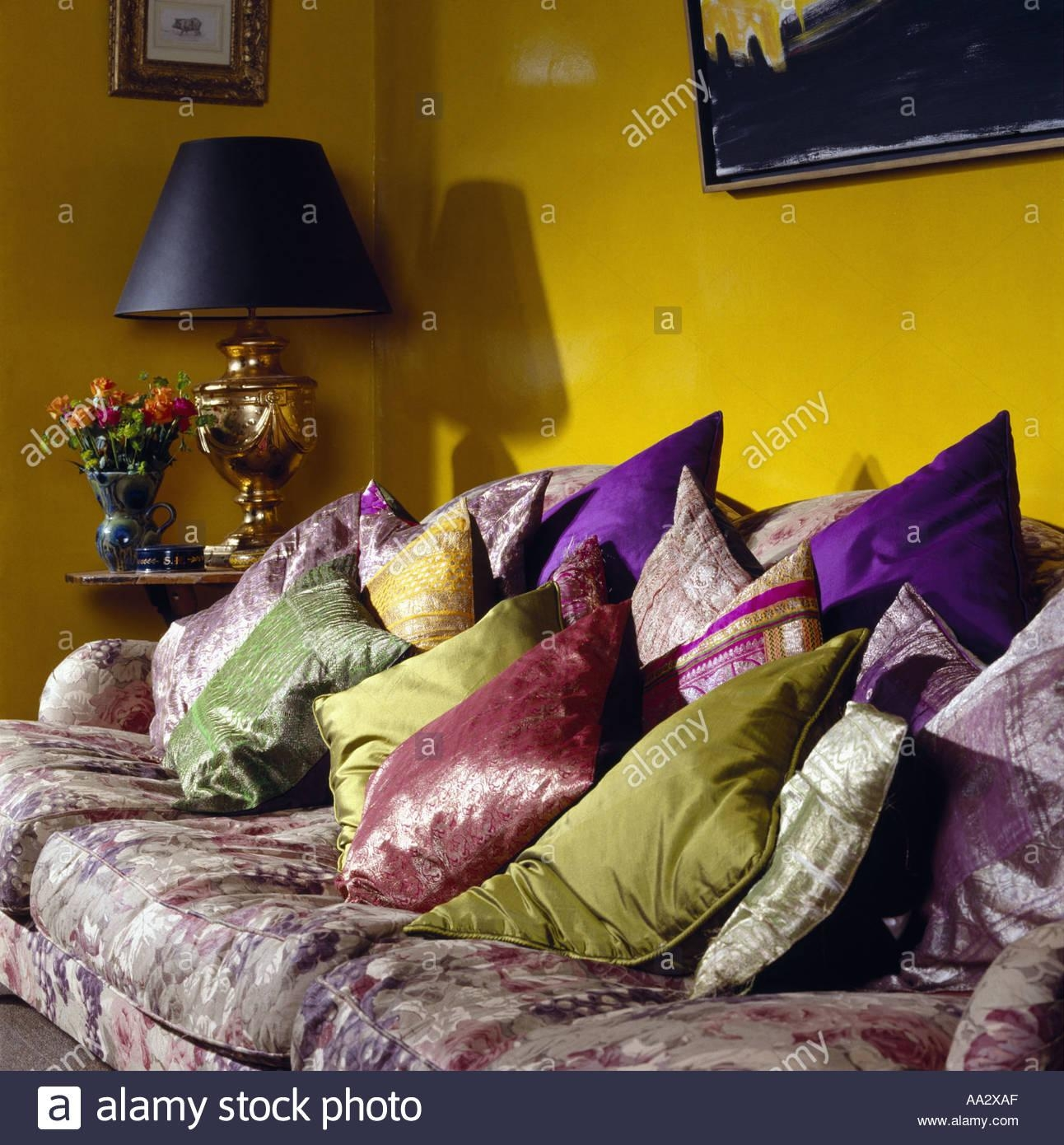 Interiors Sittingroom Sofa Yellow Stock Photos & Interiors Intended For Yellow Chintz Sofas (View 17 of 20)