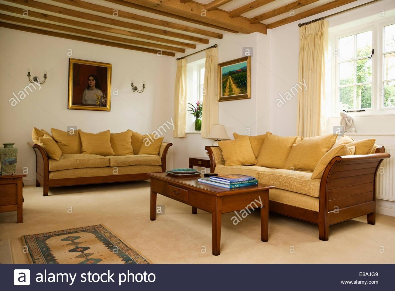 Interiors Yellow Sittingroom Sofa Stock Photos & Interiors Yellow Intended For Yellow Chintz Sofas (View 3 of 20)