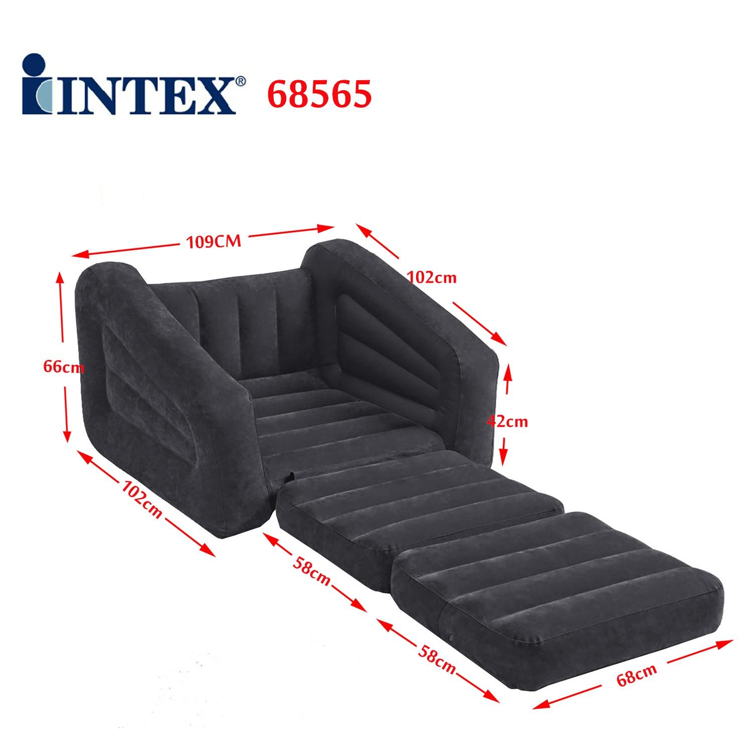 Intex Inflatable 1 Person Pull Out Chair Sofa Air Bed 68565   Ebay Within Intex Pull Out Chairs (View 17 of 20)