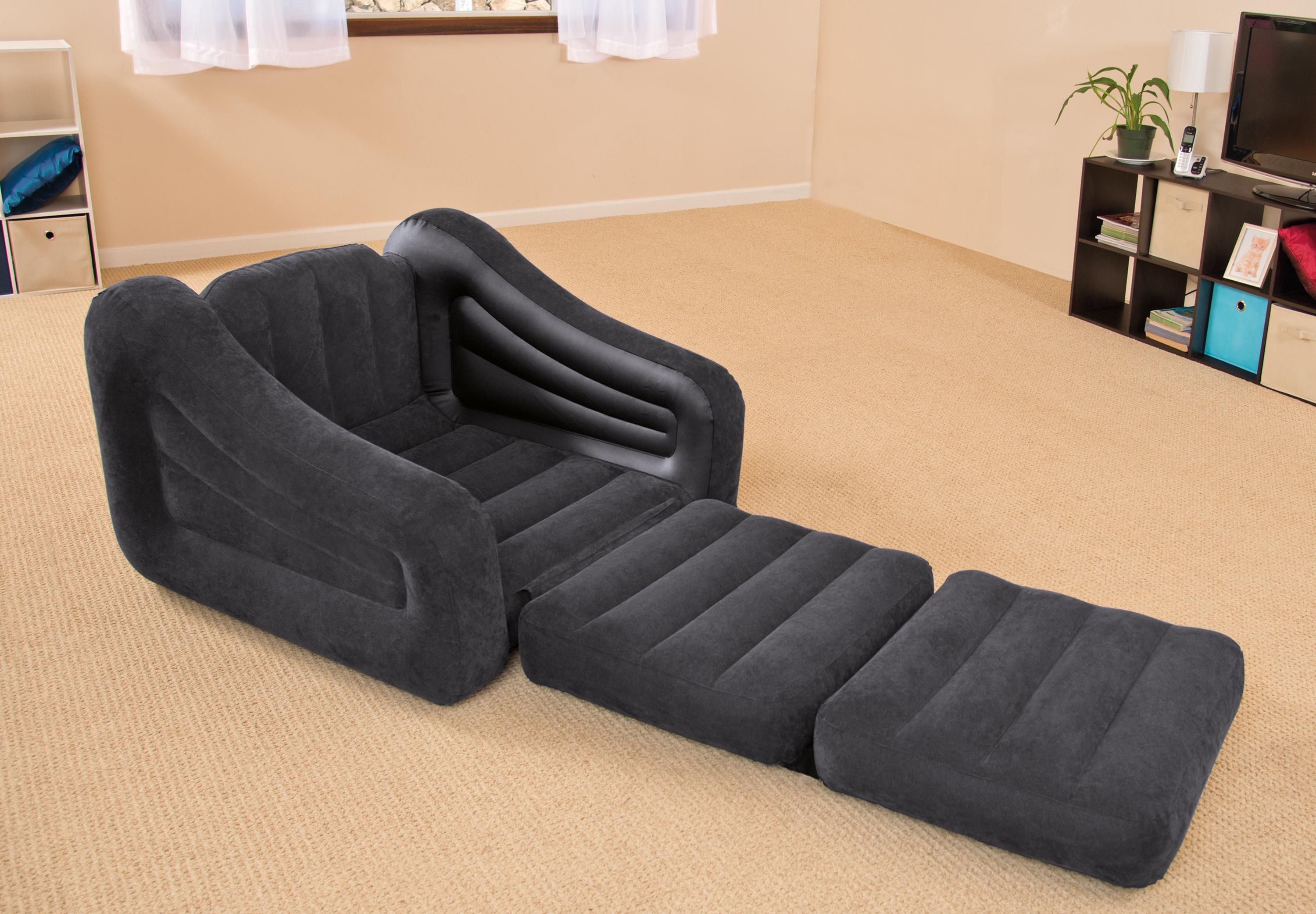 Intex Inflatable Air Chair With Pull Out Twin Bed Mattress Sleeper Inside Inflatable Pull Out Sofas (Image 4 of 20)