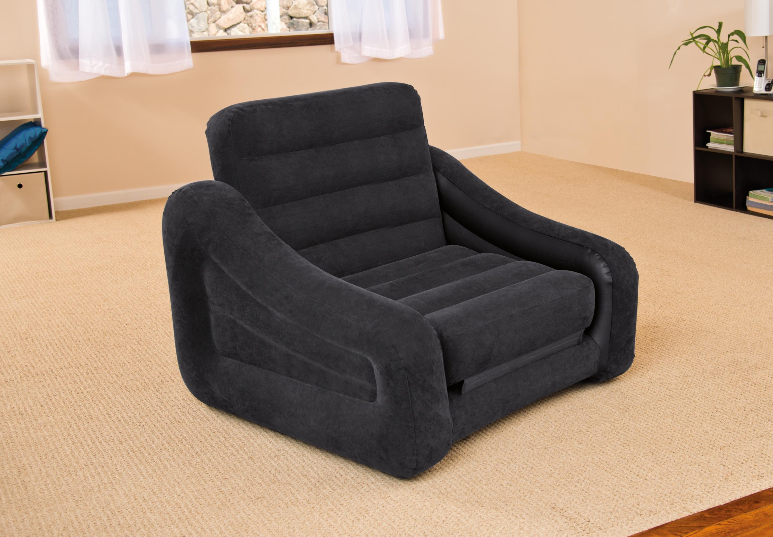 Intex Inflatable Air Chair With Pull Out Twin Bed Mattress Sleeper Throughout Intex Queen Sleeper Sofas (Image 5 of 20)