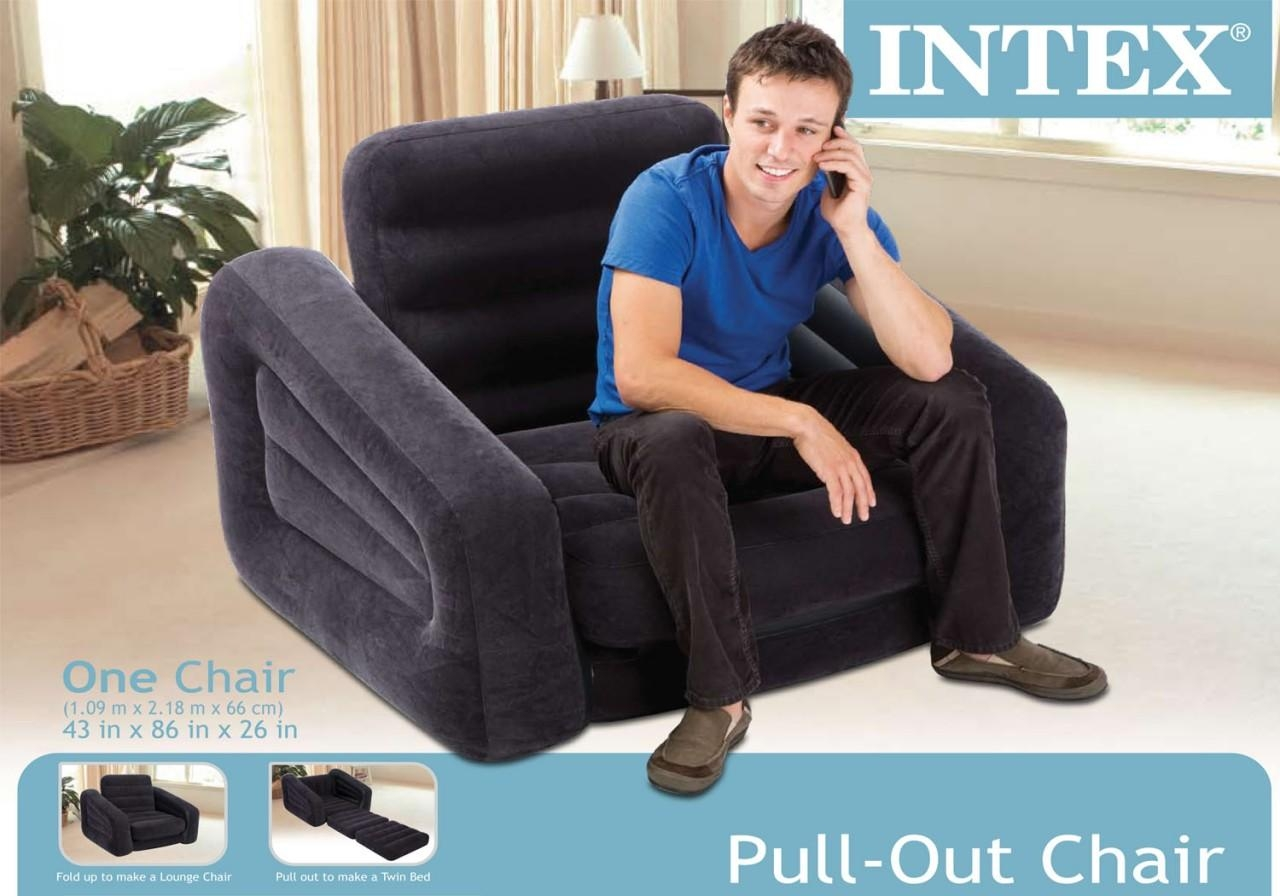 Intex Inflatable Pull Out Chair And Twin Air Mattress Pertaining To Intex Air Sofa Beds (View 15 of 20)
