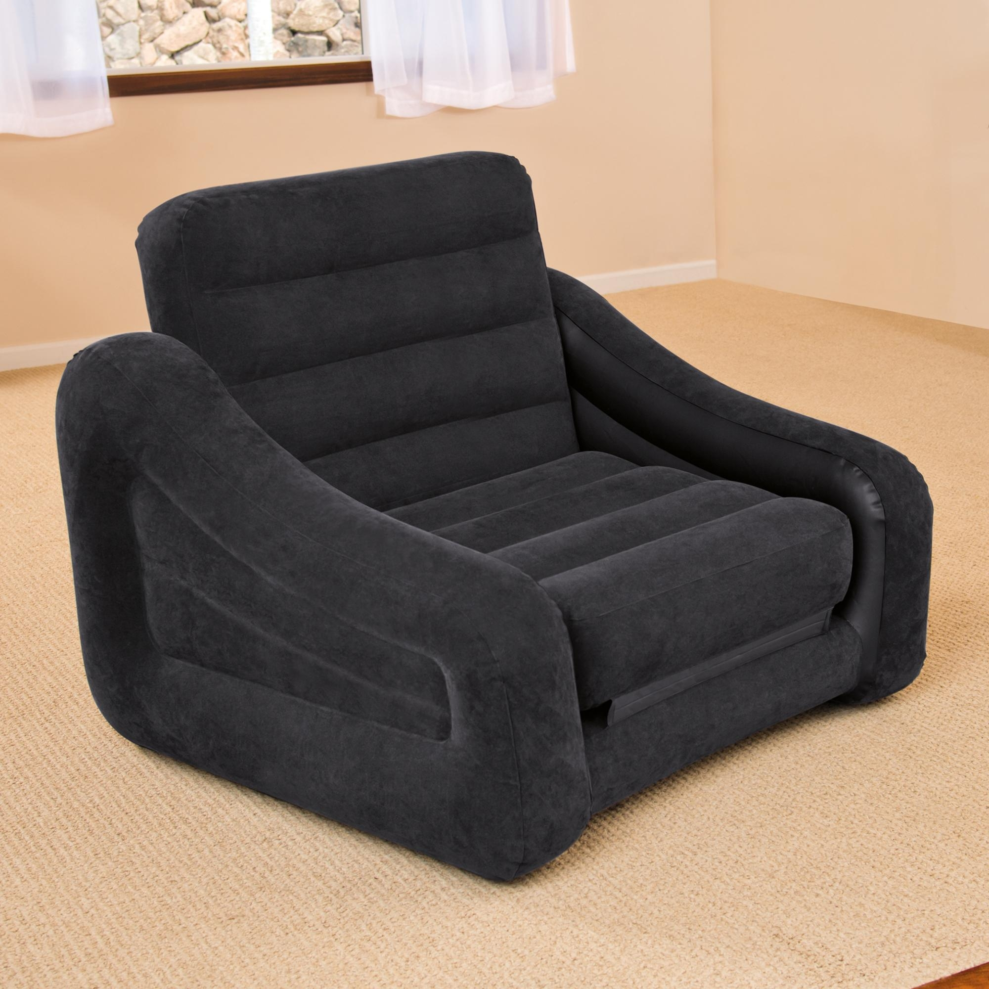 Intex Inflatable Pull Out Chair And Twin Bed Mattress Sleeper Regarding Intex Air Sofa Beds (Image 12 of 20)