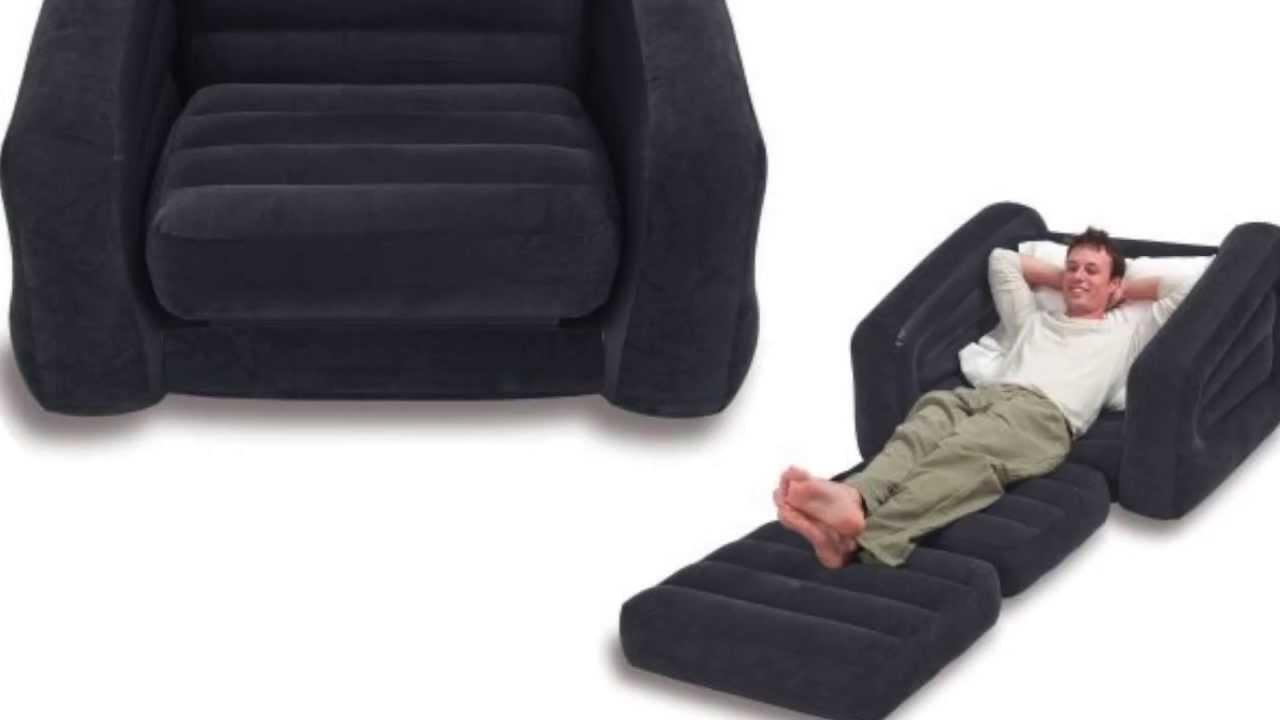 Intex Inflatable Pull Out Chair & Twin Bed Mattress Sleeper Pertaining To Intex Sleep Sofas (View 13 of 20)