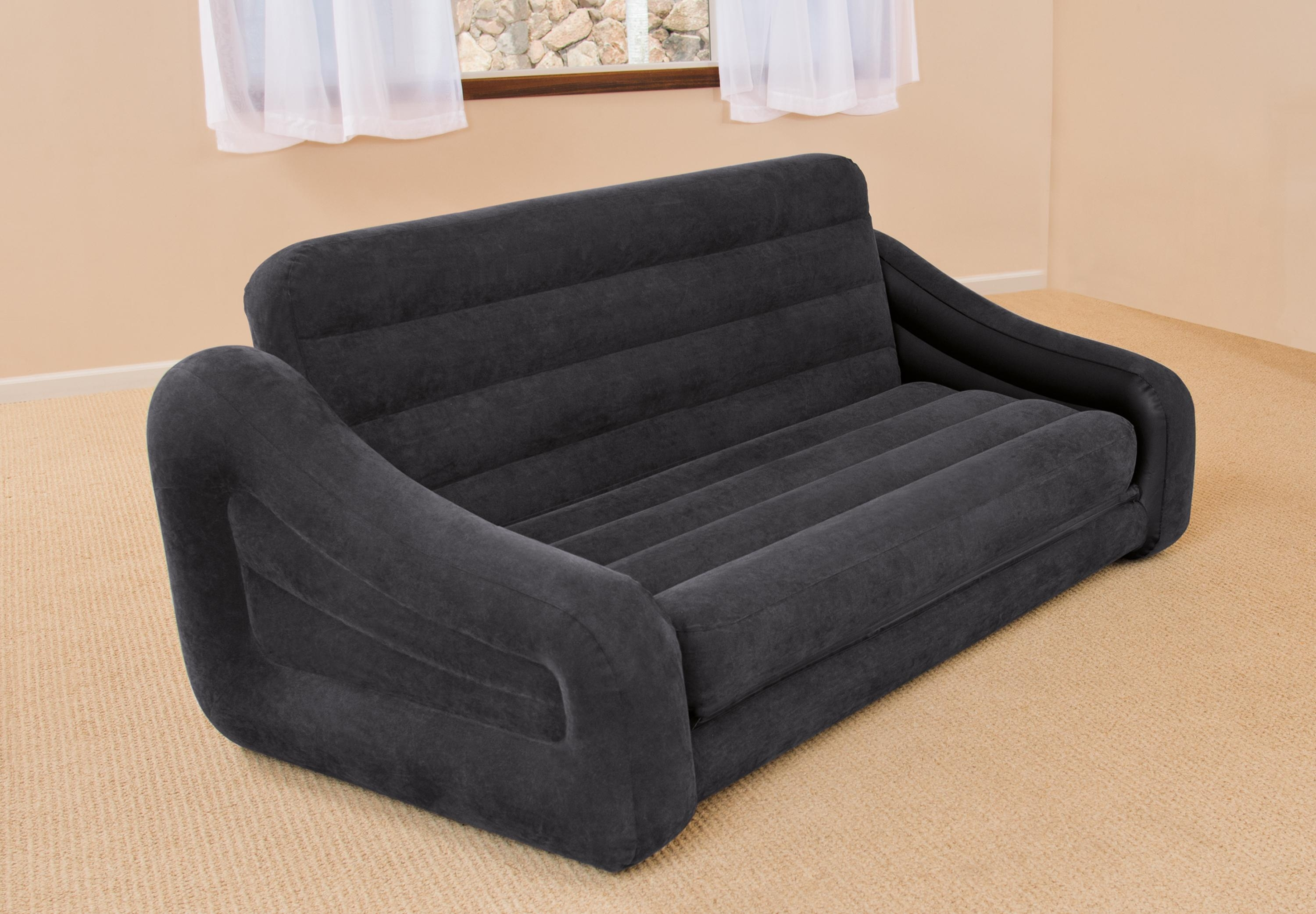 Intex Inflatable Pull Out Sofa & Queen Bed Mattress Sleeper W/ Ac Pertaining To Intex Air Couches (Image 12 of 20)