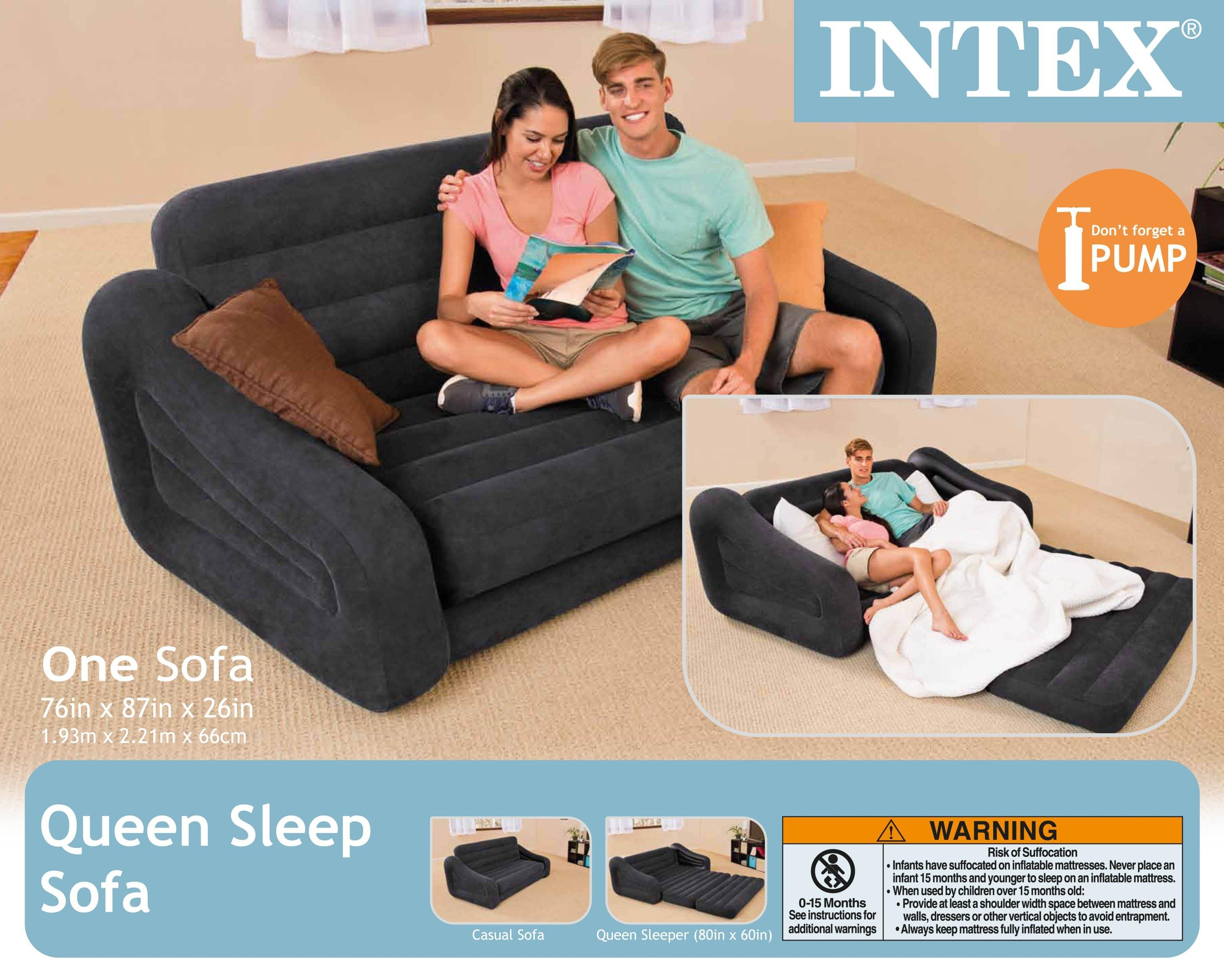 Intex Inflatable Pull Out Sofa & Queen Bed Mattress Sleeper W/ Ac Pertaining To Intex Sleep Sofas (Image 10 of 20)