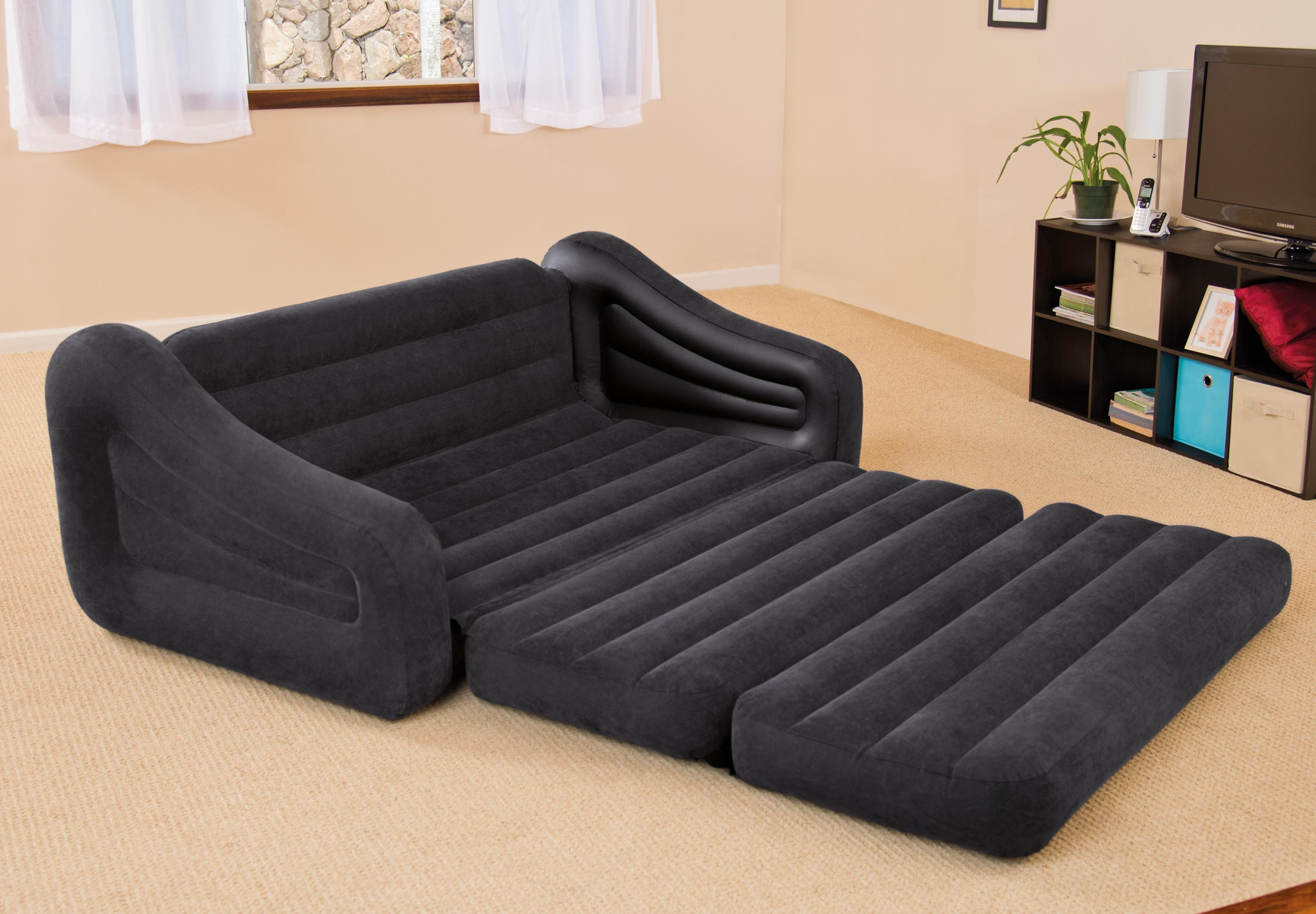 Intex Inflatable Pull Out Sofa & Queen Bed Mattress Sleeper W/ Ac With Regard To Inflatable Sofa Beds Mattress (Image 9 of 20)