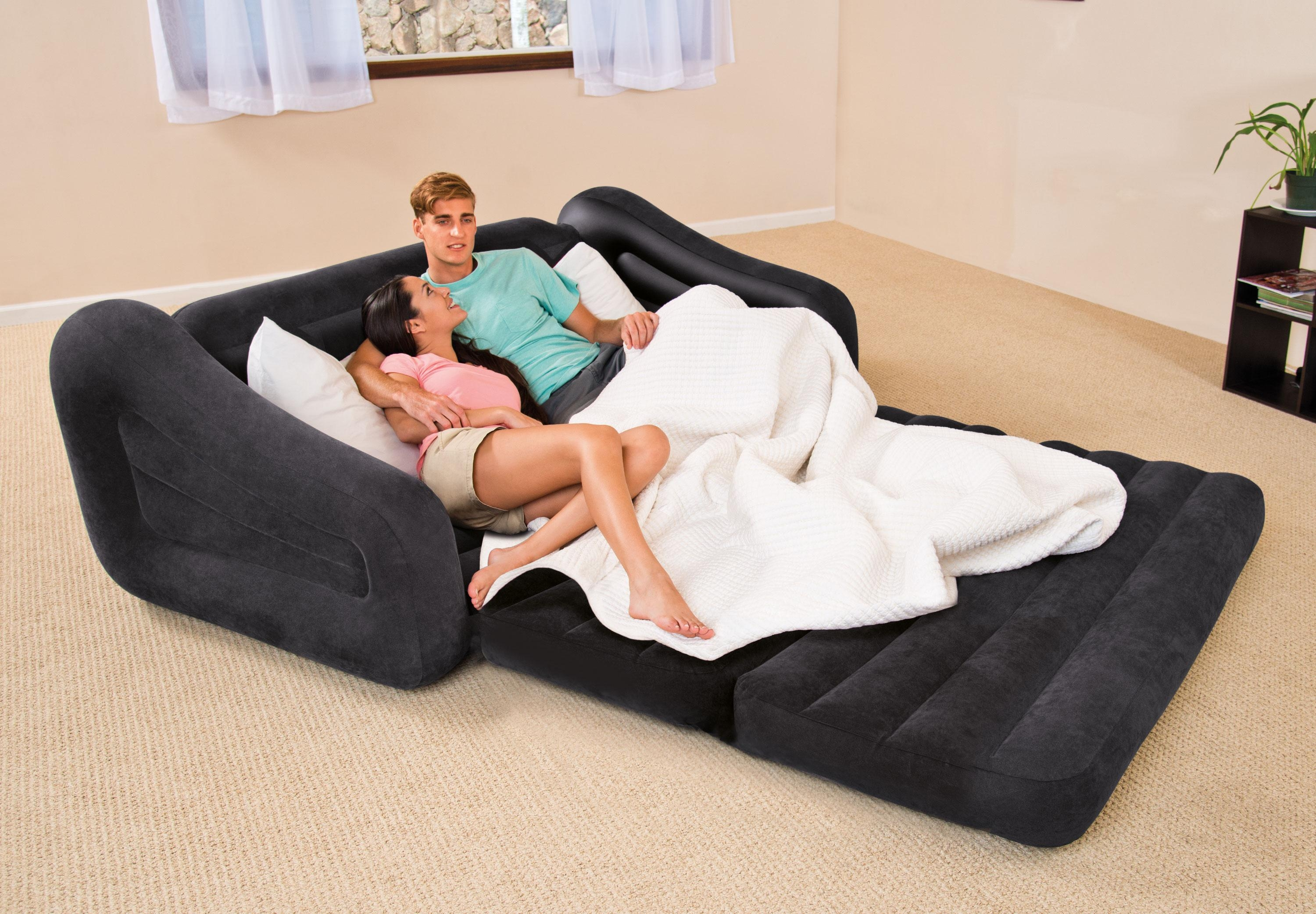 Intex Inflatable Pull Out Sofa Queen Bed Sleeper 68566Ep + 66619E Throughout Intex Inflatable Pull Out Sofas (Image 8 of 20)
