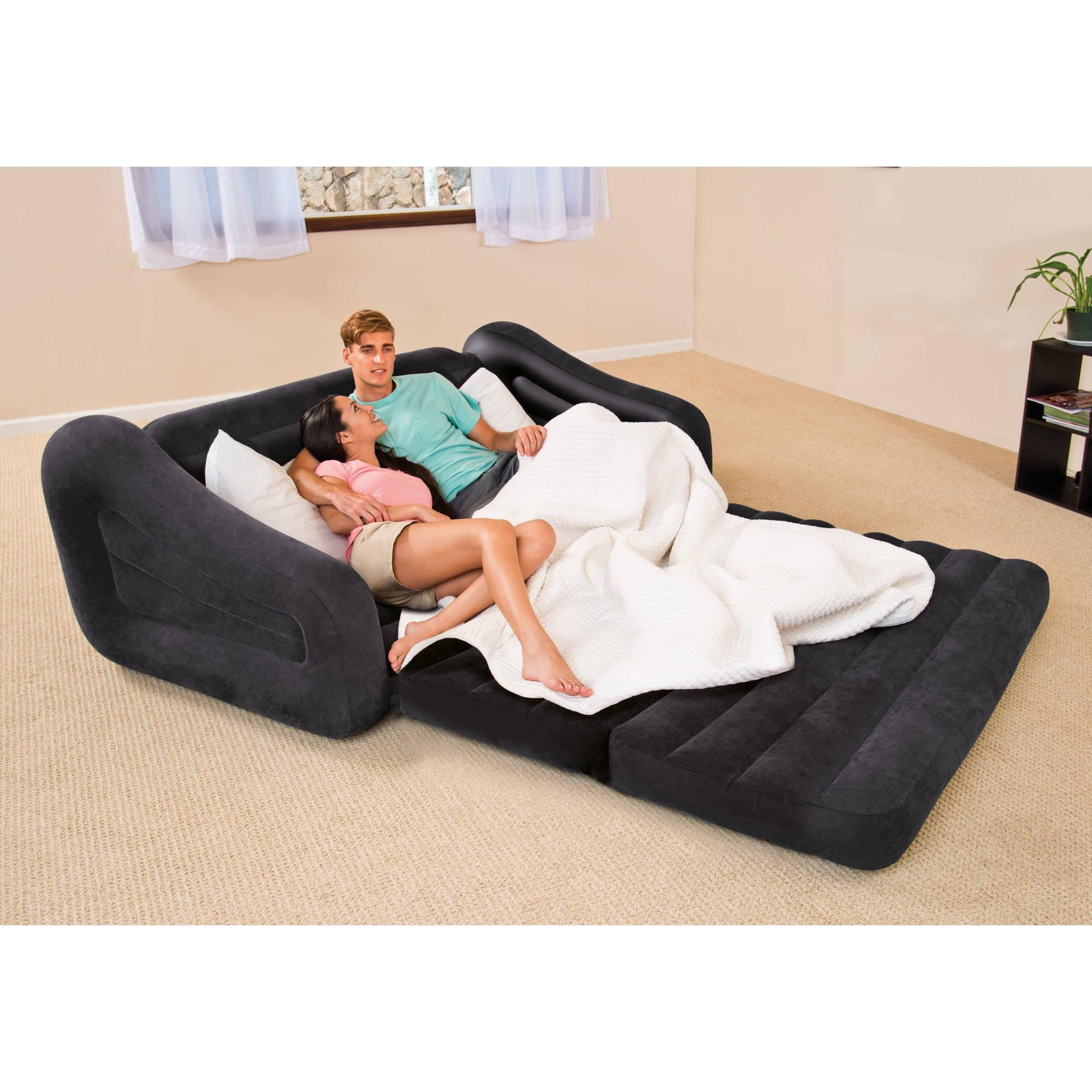 Intex Queen Inflatable Pull Out Sofa Bed – Walmart Pertaining To Sofa Beds With Mattress Support (Image 8 of 20)