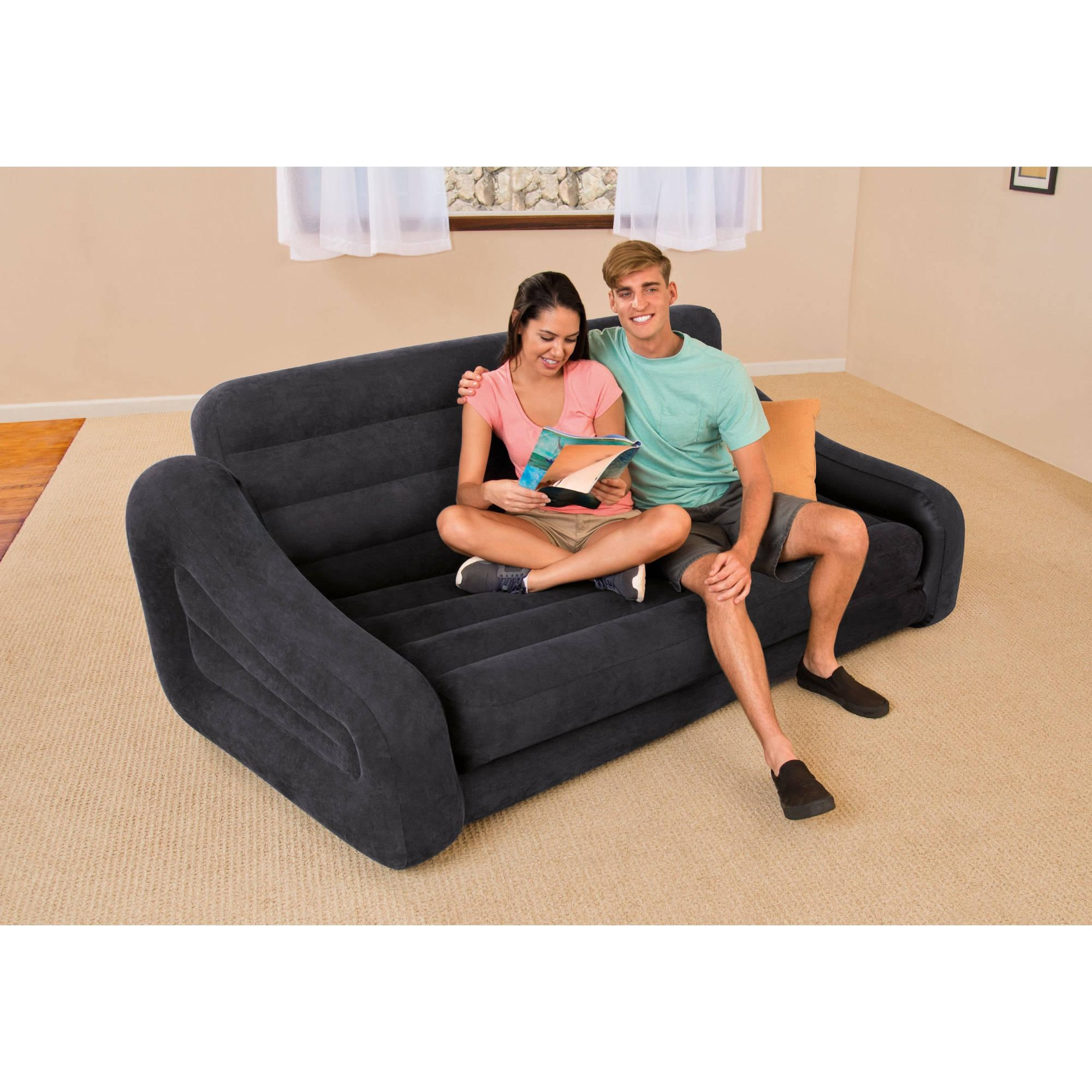 Intex Queen Inflatable Pull Out Sofa Bed – Walmart Regarding Pull Out Queen Size Bed Sofas (Image 14 of 20)