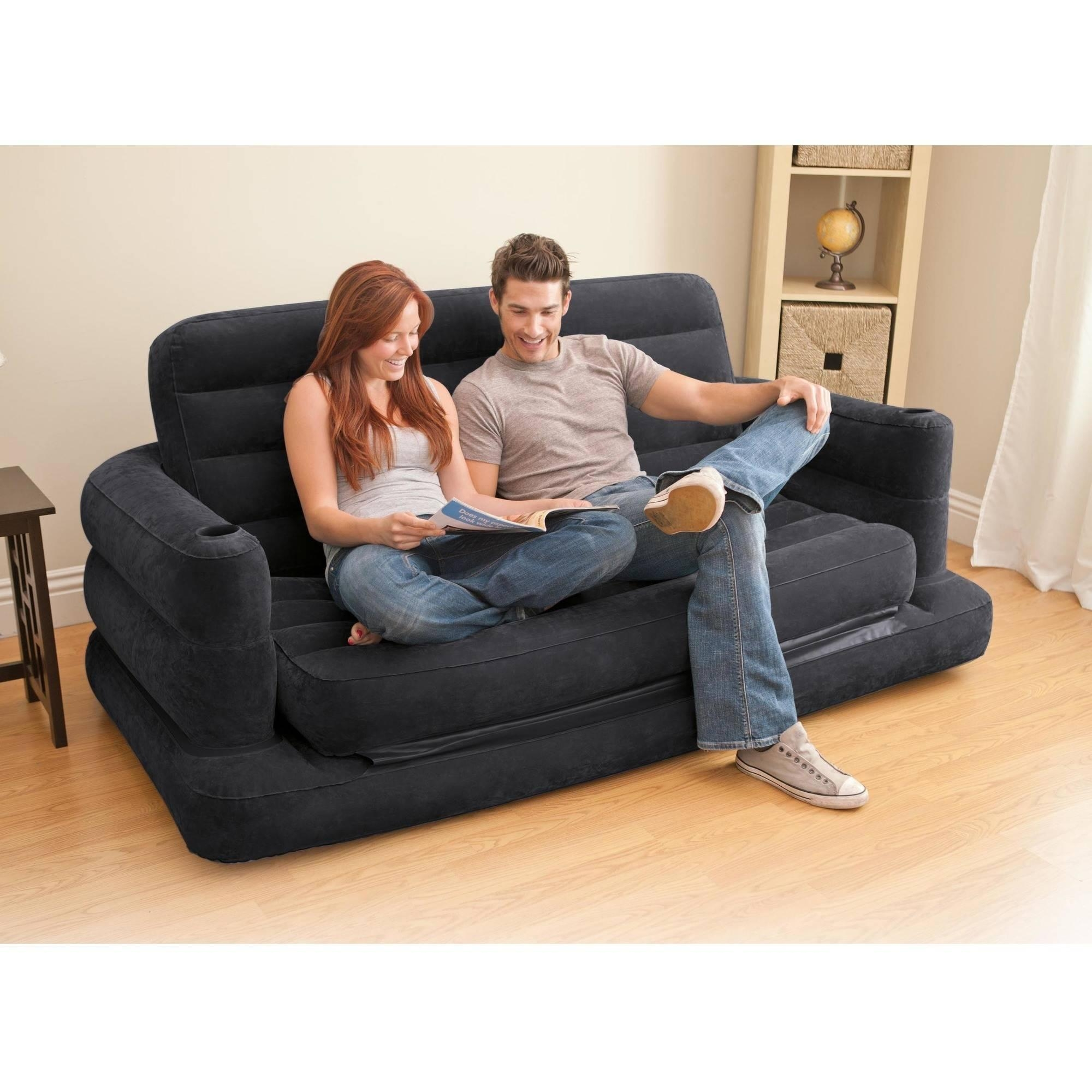 Intex Sofa Bed, Dark Grey | Ebay In Intex Inflatable Pull Out Sofas (View 18 of 20)