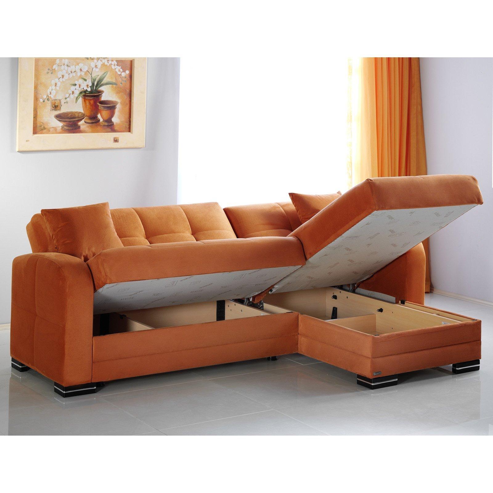 Istikbal Kubo Rainbow Orange Microfiber Sectional Sofa – Walmart Regarding Burnt Orange Sofas (Image 6 of 20)