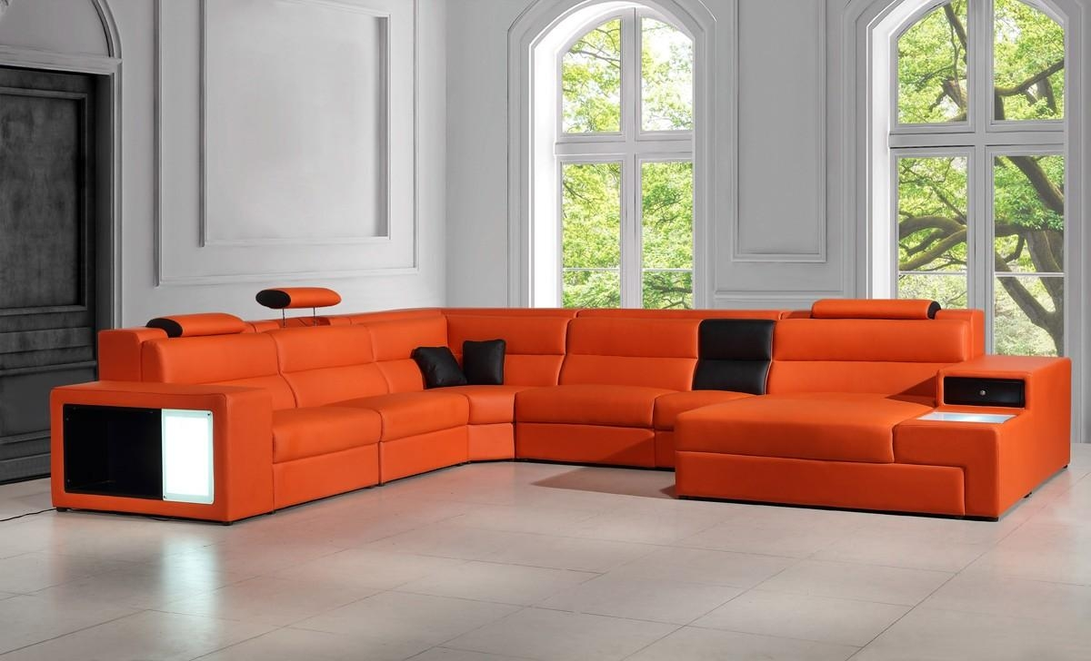 Italian Leather Sectional Sofa In Orange Regarding Italian Leather Sectionals Contemporary (Image 11 of 20)