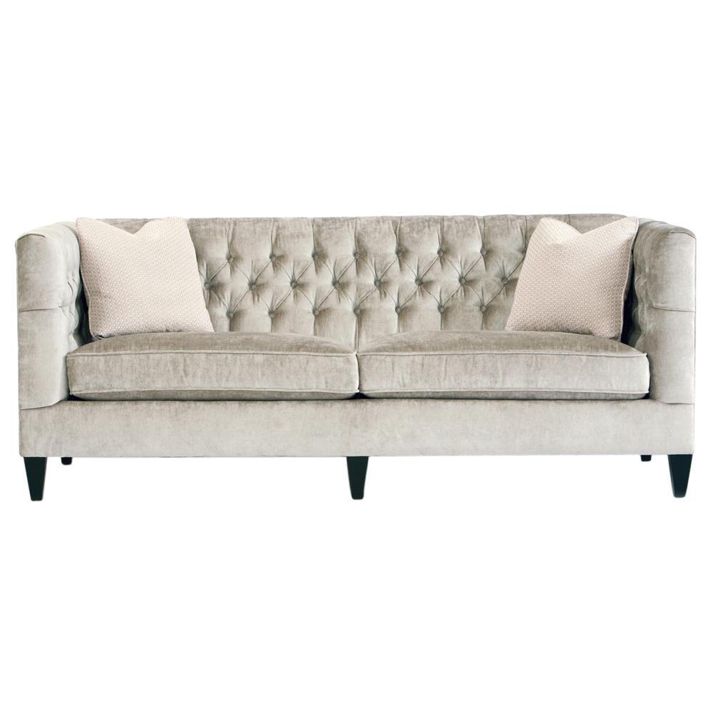 Jane Hollywood Regency Mocha Wood Silver Velvet Tufted Sofa throughout Silver Tufted Sofas