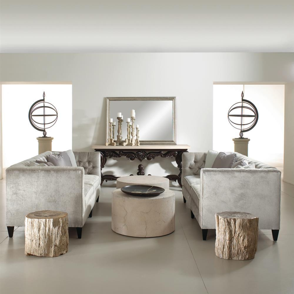 Jane Hollywood Regency Mocha Wood Silver Velvet Tufted Sofa within Silver Tufted Sofas