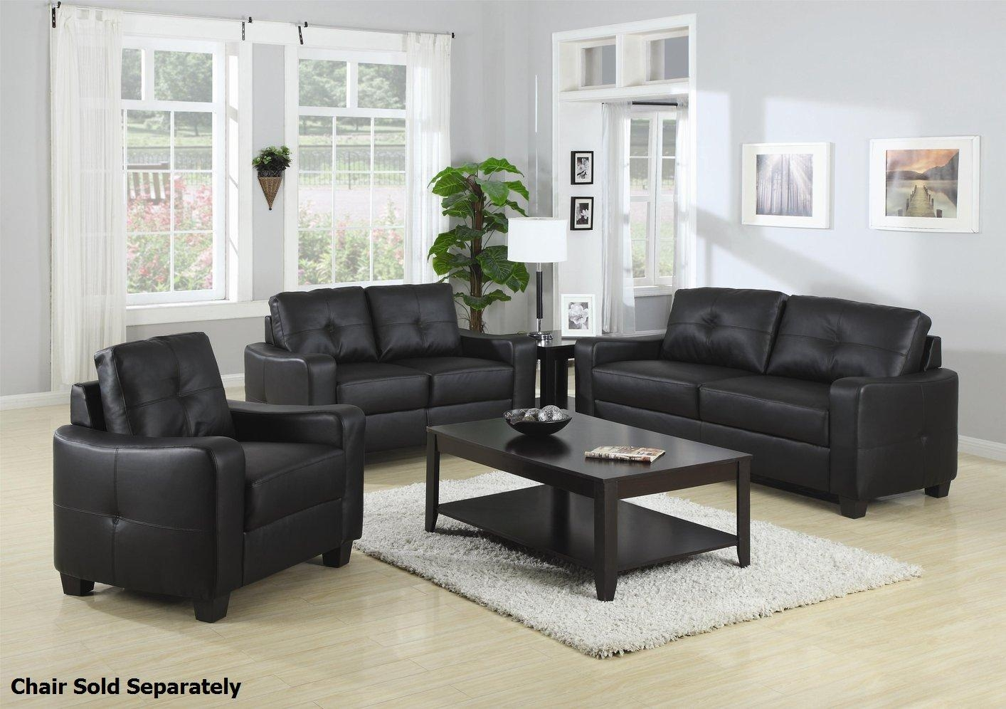 Jasmine Black Leather Sofa And Loveseat Set – Steal A Sofa In Black Leather Sofas And Loveseats (Image 18 of 20)