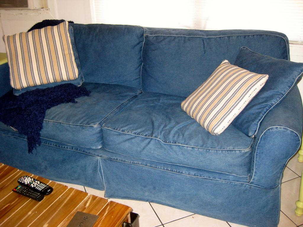 Jean Couch | I Suggested Making A Jean Cover For Our Couch, … | Flickr With Blue Jean Sofas (Image 10 of 20)