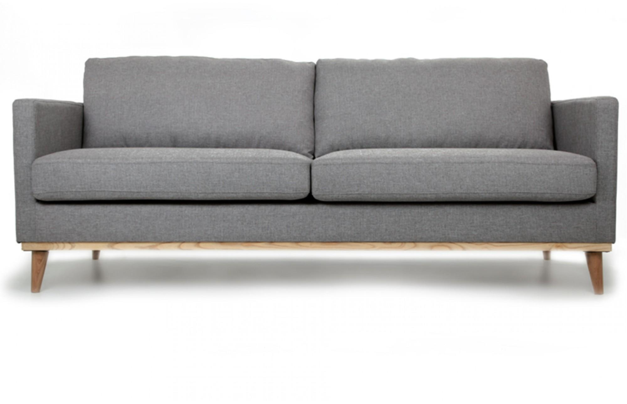 Jefferson Three Seater Sofa In Light Grey With Oak Legs - Out And inside Three Seater Sofas