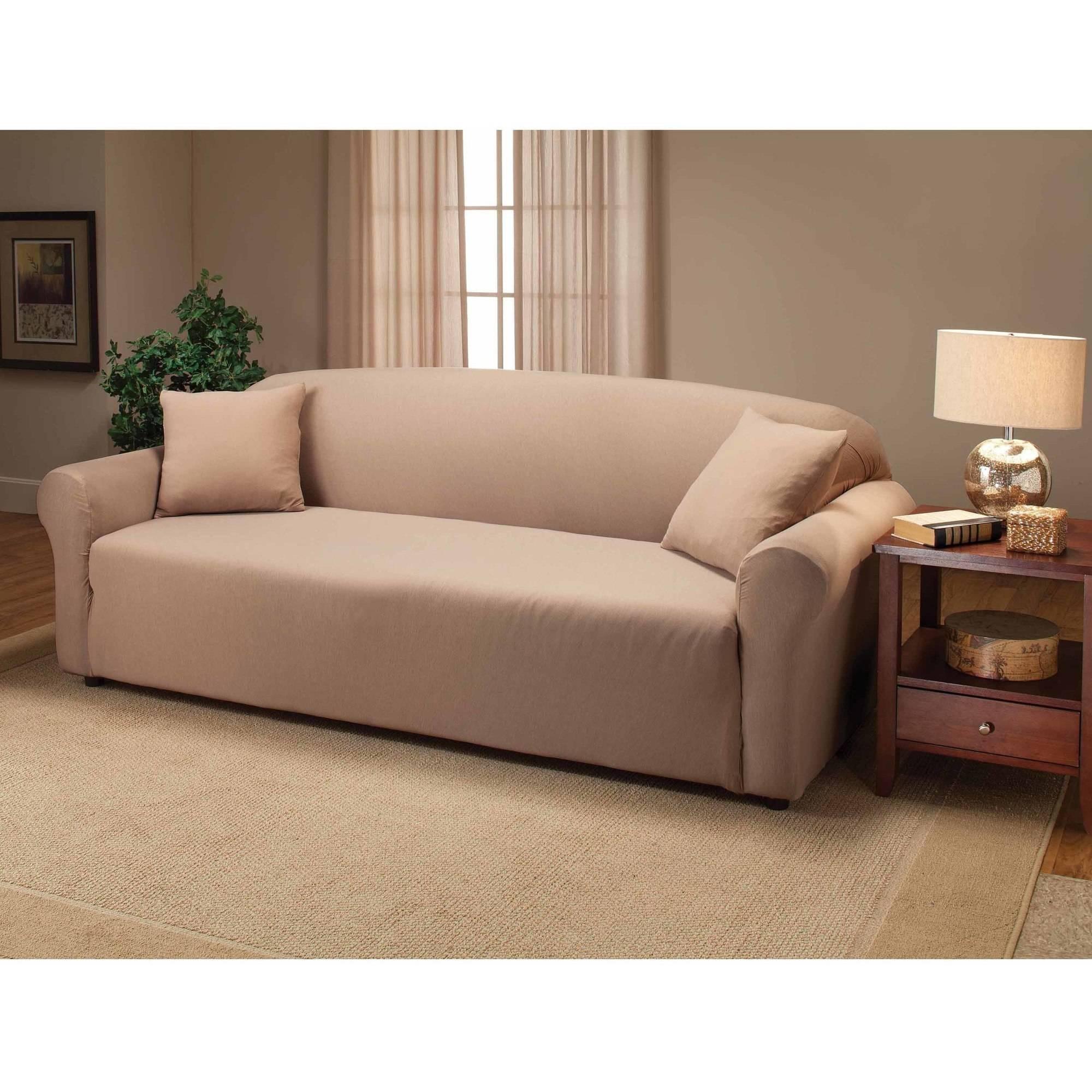 Jersey Stretch Sofa Slipcover - Walmart with regard to Stretch Slipcover Sofas