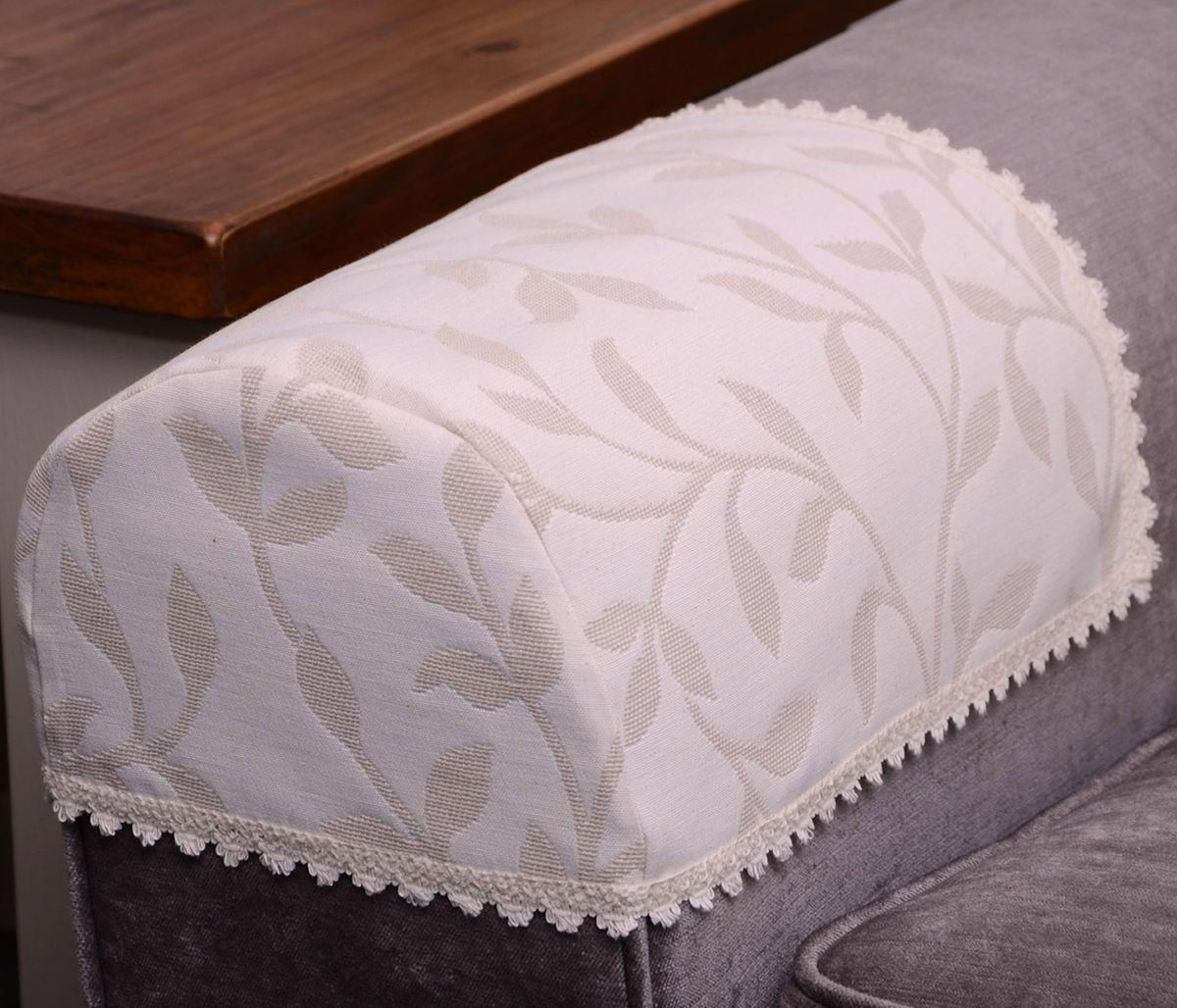 Jess Arm Caps Or Chair Backs Floral Cream Beige Natural Throughout Sofa Arm Caps (Image 14 of 20)