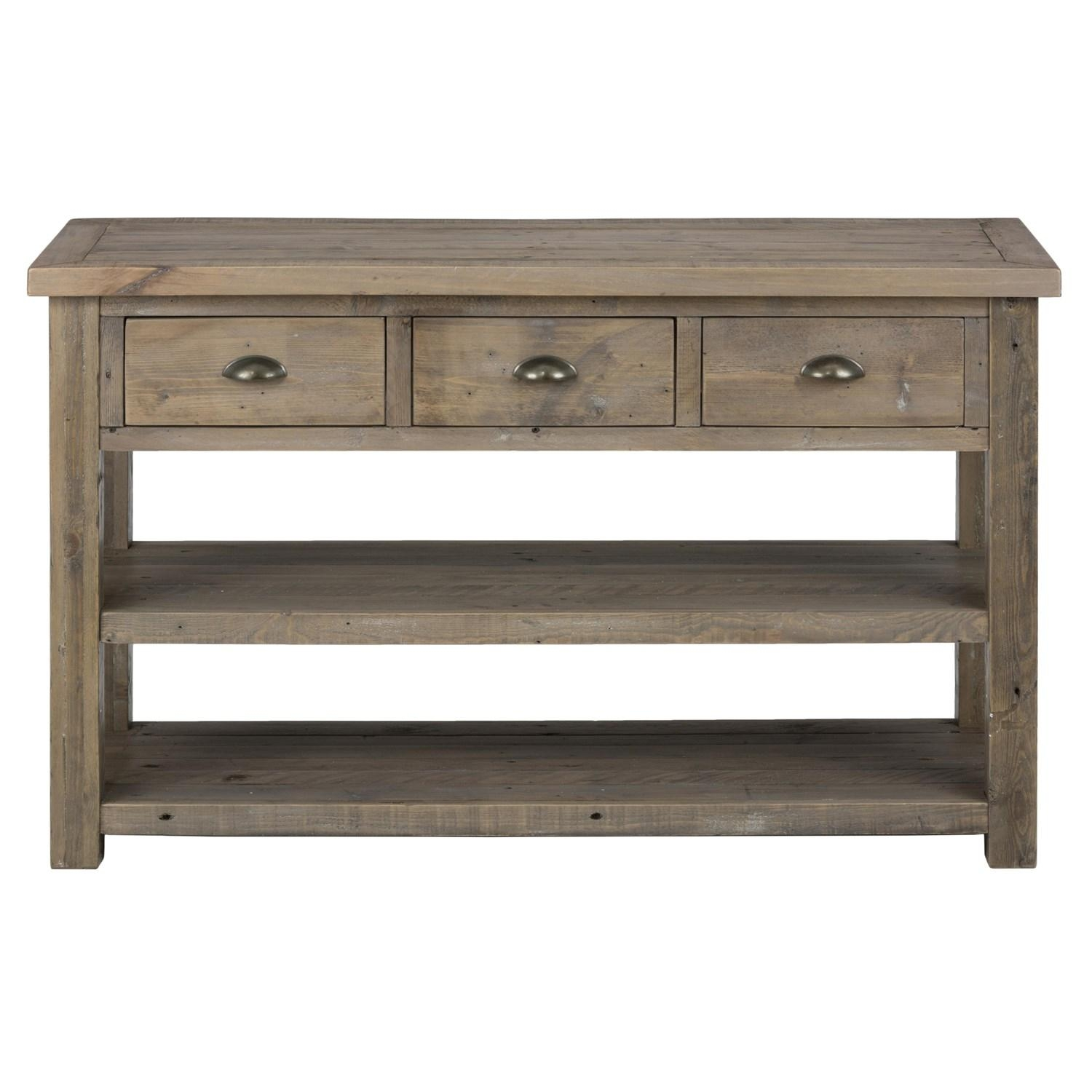 Jofran 940 4 Slater Mill Pine Sofa Table With 3 Drawers And 2 Regarding Sofa Table Drawers (Image 8 of 20)