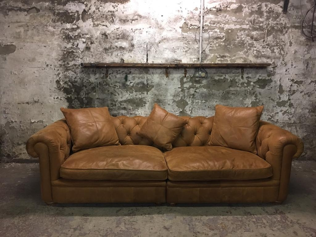 John Lewis Aniline Leather Oversized Tan Chesterfield Sofa | In Pertaining To Aniline Leather Sofas (Image 15 of 20)
