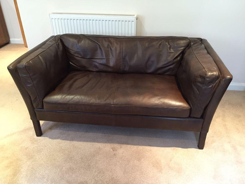 John Lewis Halo Groucho Small Aniline Leather Sofa Old Saddle Intended For Sofas