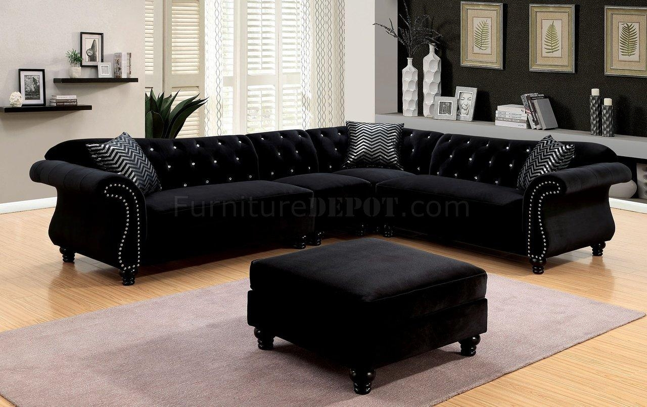 Jolanda Ii Sectional Sofa Cm6158Bk In Black Fabric W/options Regarding Black Fabric Sectional (Image 13 of 15)