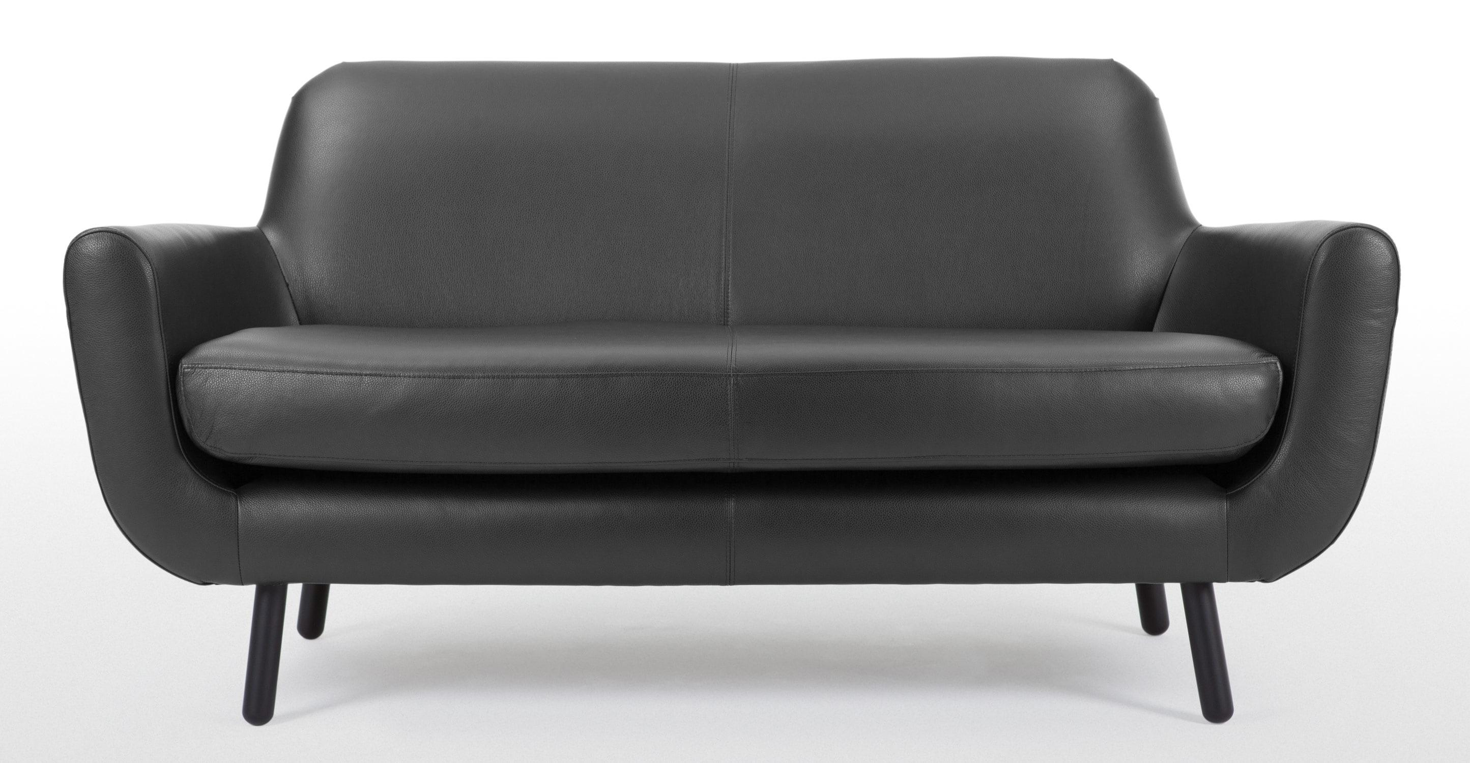Jonah 2 Seater Sofa In Liquorice Black Premium Leather | Made For Black 2 Seater Sofas (Image 13 of 20)