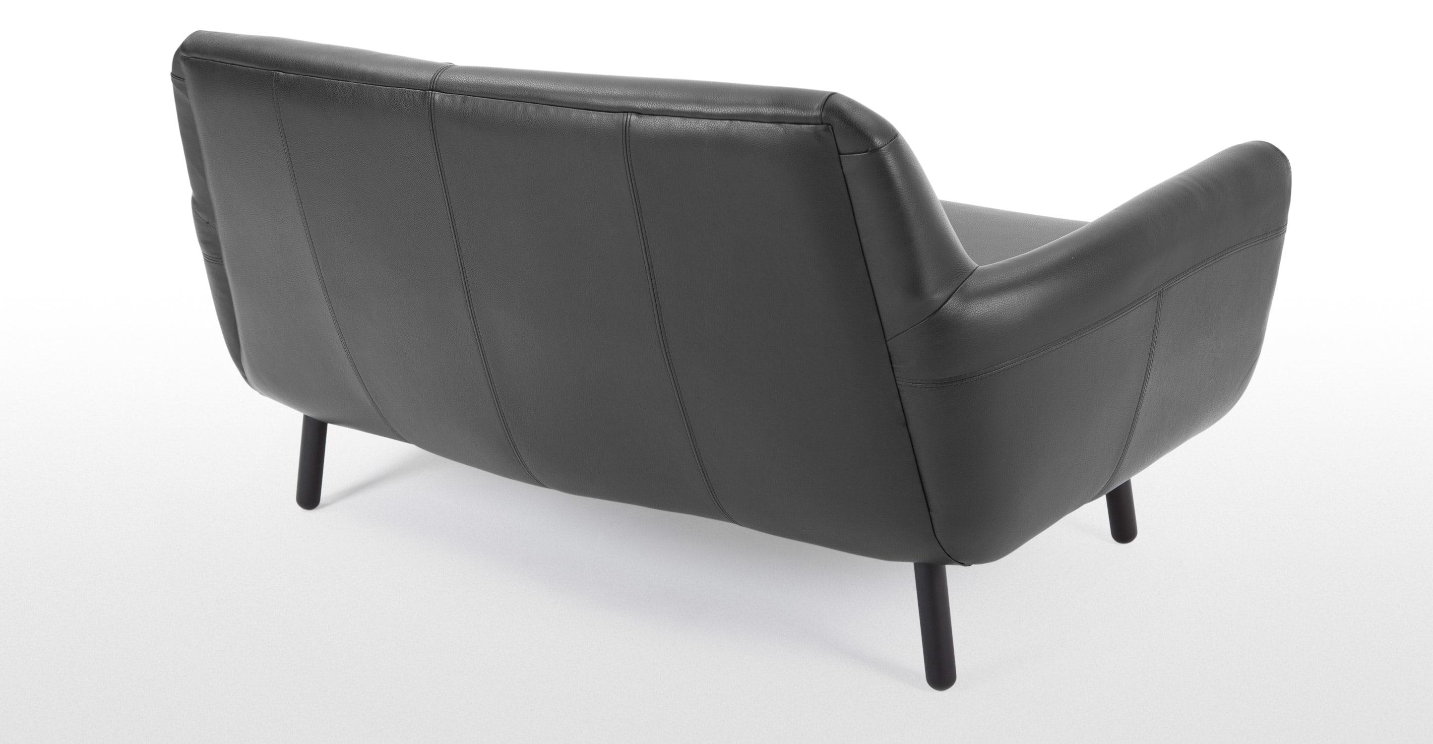 Jonah 2 Seater Sofa In Liquorice Black Premium Leather | Made In Black 2 Seater Sofas (Image 14 of 20)