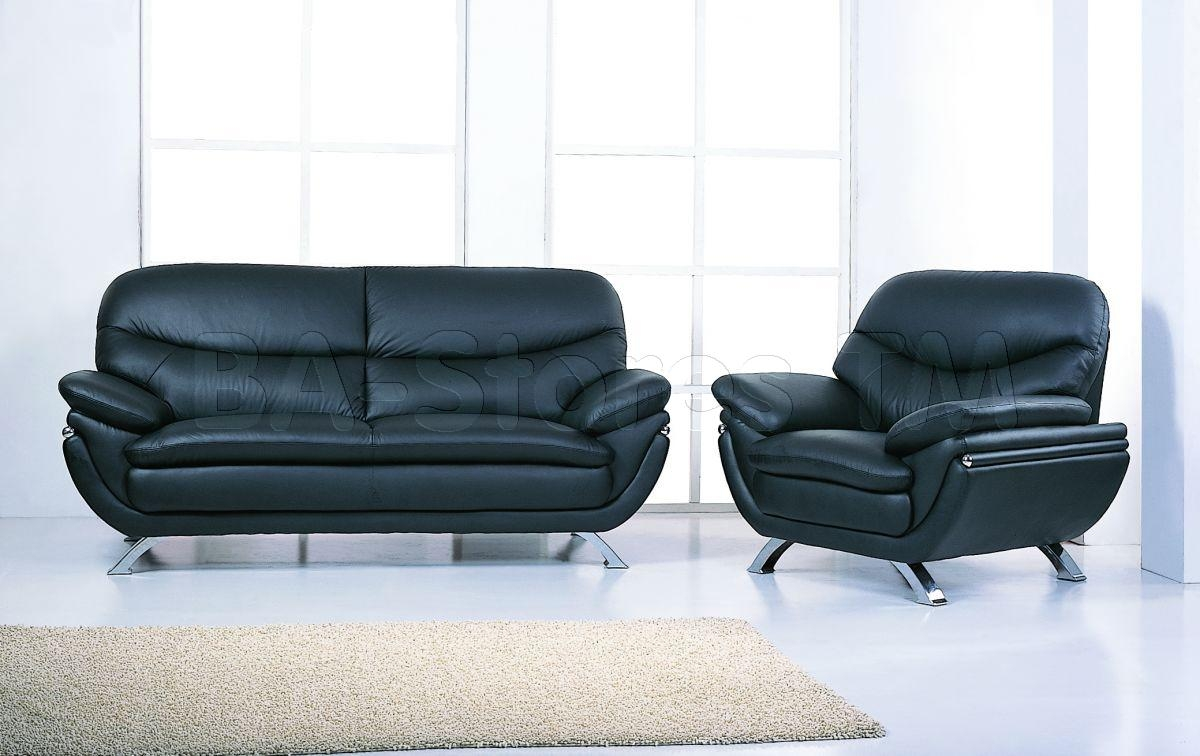 Jonus Sofa And Loveseat Set | Black Leather – $1, (Image 19 of 20)