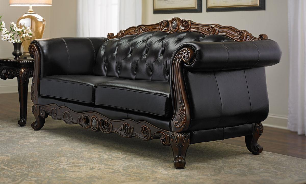 Josephine Leather Camelback Sofa | Haynes Furniture, Virginia's inside Chippendale Camelback Sofas