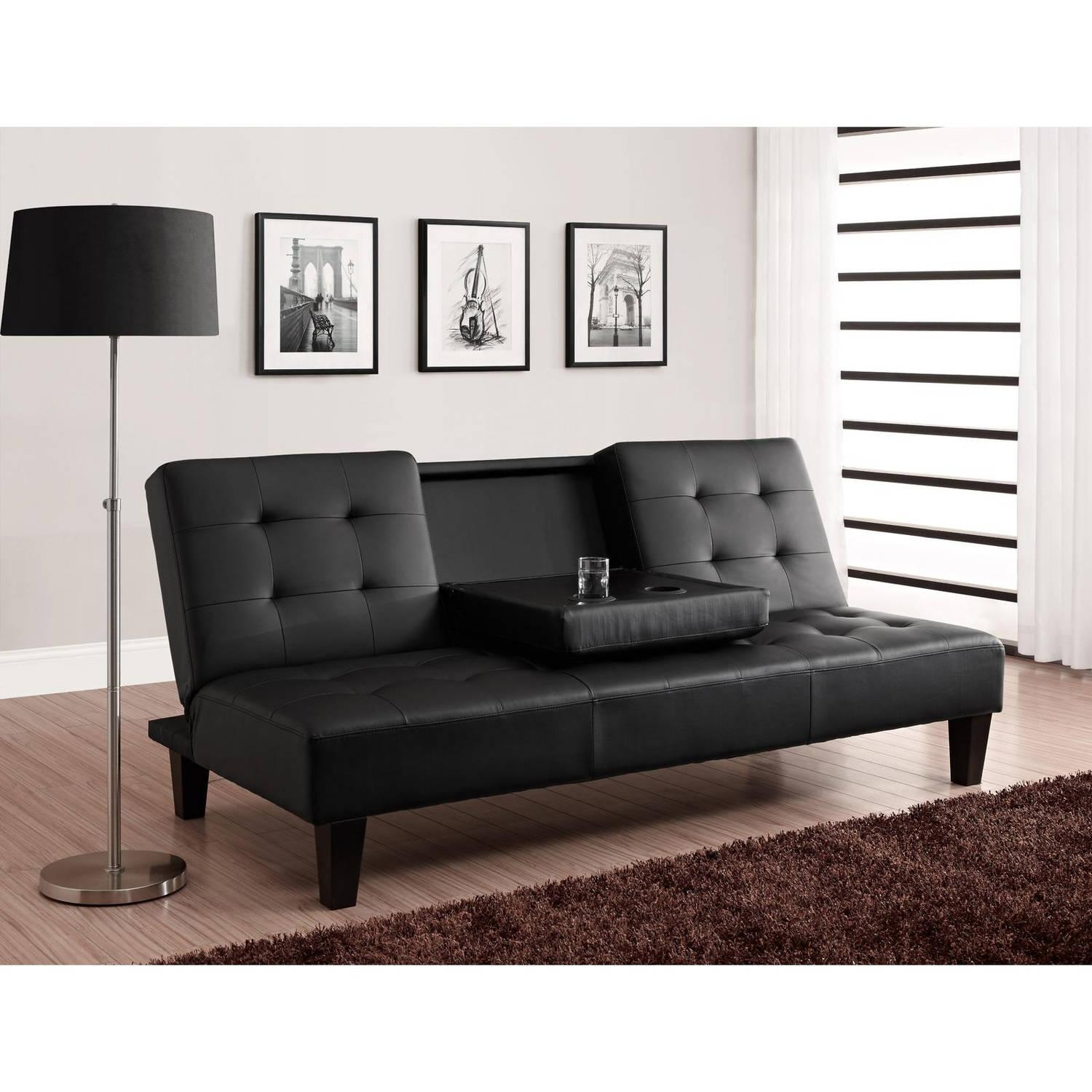 Julia Cupholder Convertible Futon, Multiple Colors – Walmart Throughout Leather Fouton Sofas (Image 14 of 20)