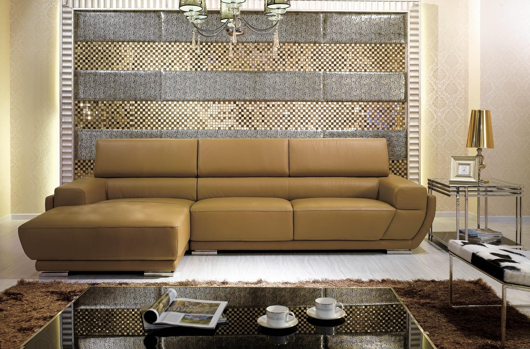K8300 Modern Camel Italian Leather Sectional Sofa For Camel Sectional Sofa (Image 12 of 15)