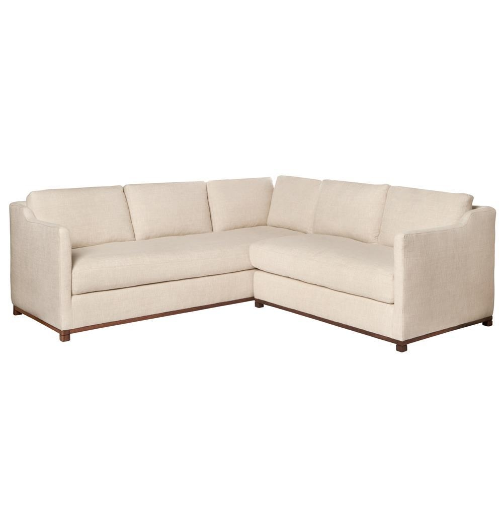 Kardell Mid Century Modern Beige Linen Sectional – Right Arm Within Mid Century Modern Leather Sectional (Image 6 of 20)