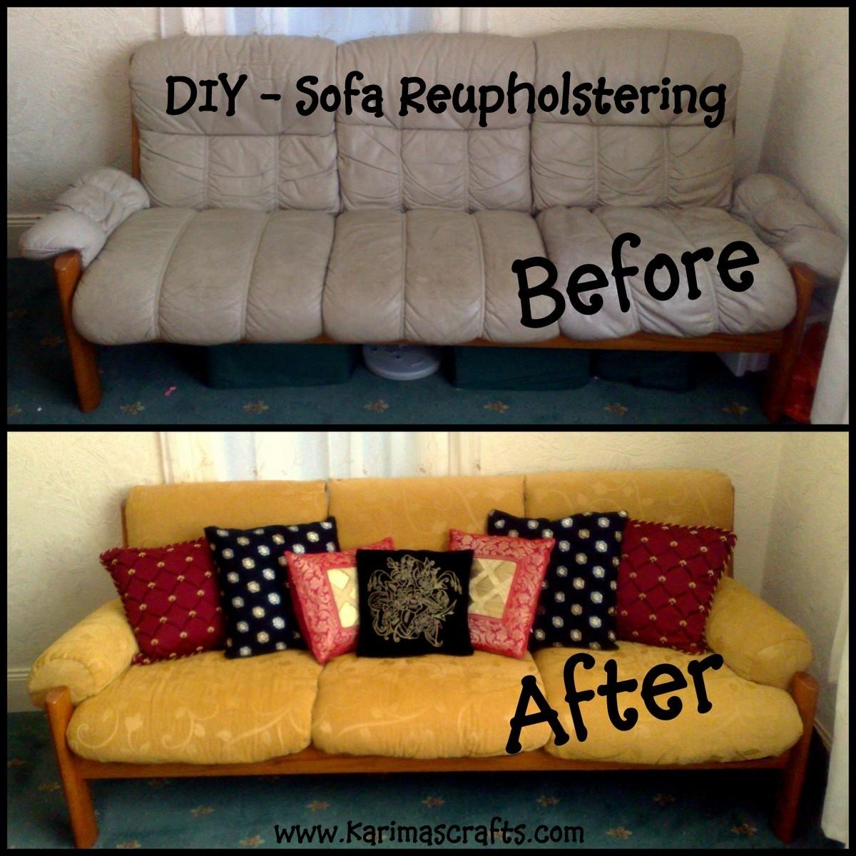 Karima's Crafts: Reupholstering A Sofa – My Mini Tutorial For Reupholster Sofas Cushions (Image 5 of 20)