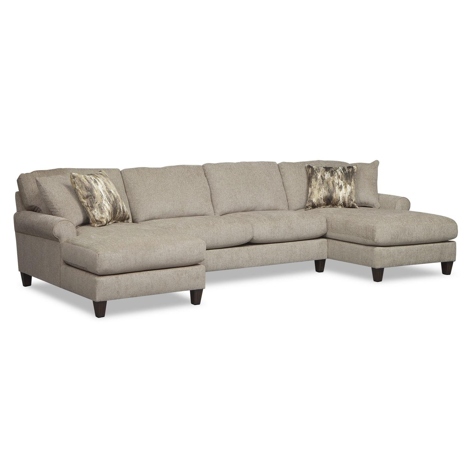 Karma 3 Piece Sectional With 2 Chaises – Mink | Value City Furniture With Sectional With 2 Chaises (Image 6 of 20)