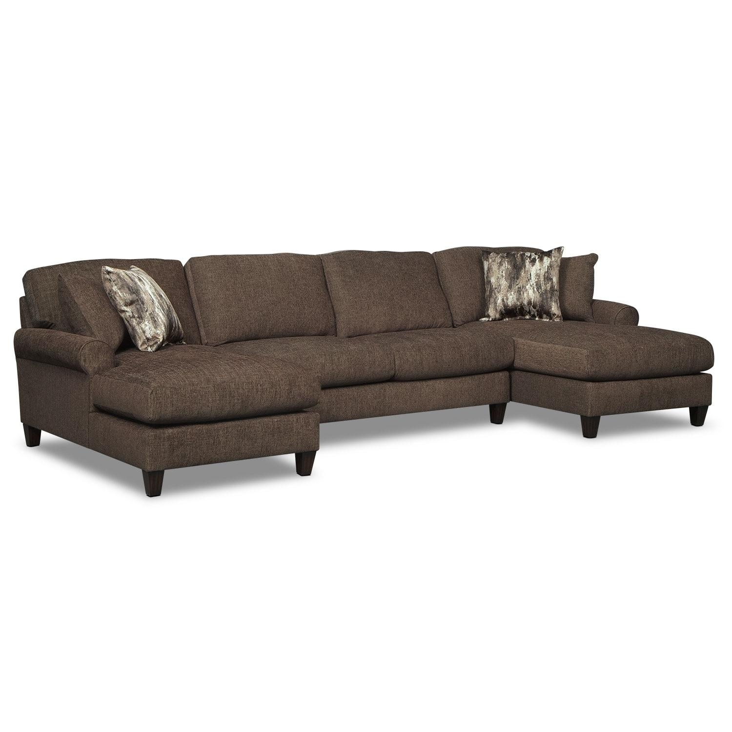 Karma 3 Piece Sectional With 2 Chaises – Smoke | Value City Furniture Inside Sectional With 2 Chaises (Image 7 of 20)