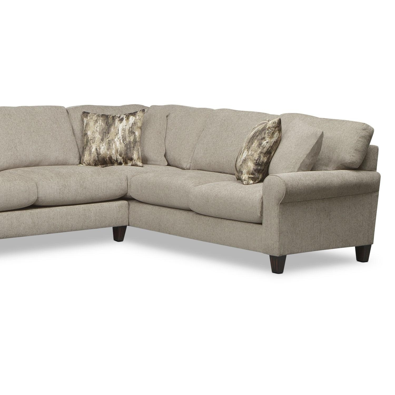 Karma 3 Piece Sectional With Left Facing Cuddler – Mink | Value Within Sectional Cuddler (Image 12 of 20)