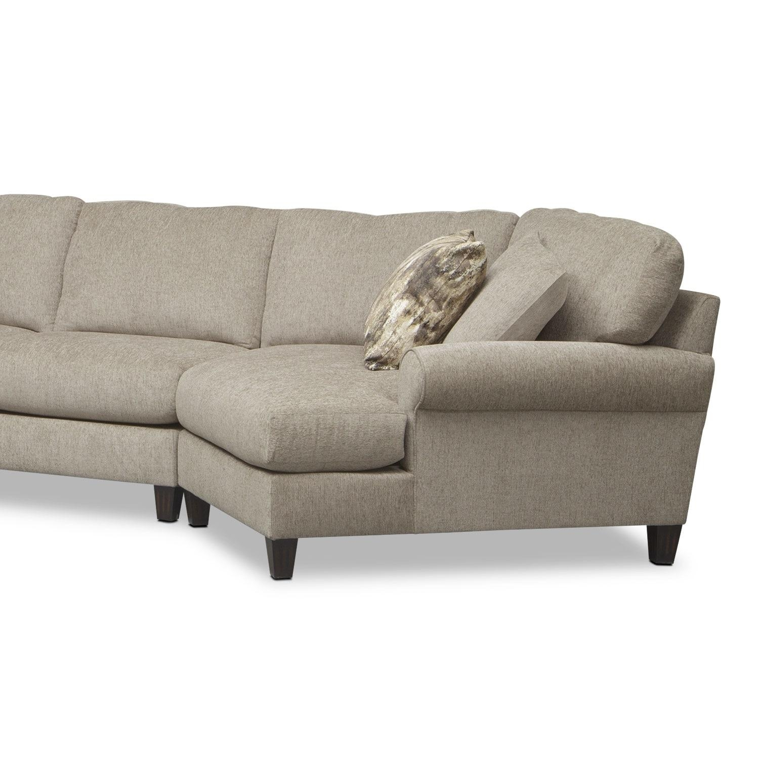 Karma 3 Piece Sectional With Right Facing Cuddler And Left Facing Intended For Sectional Sofa With Cuddler Chaise (Image 10 of 20)