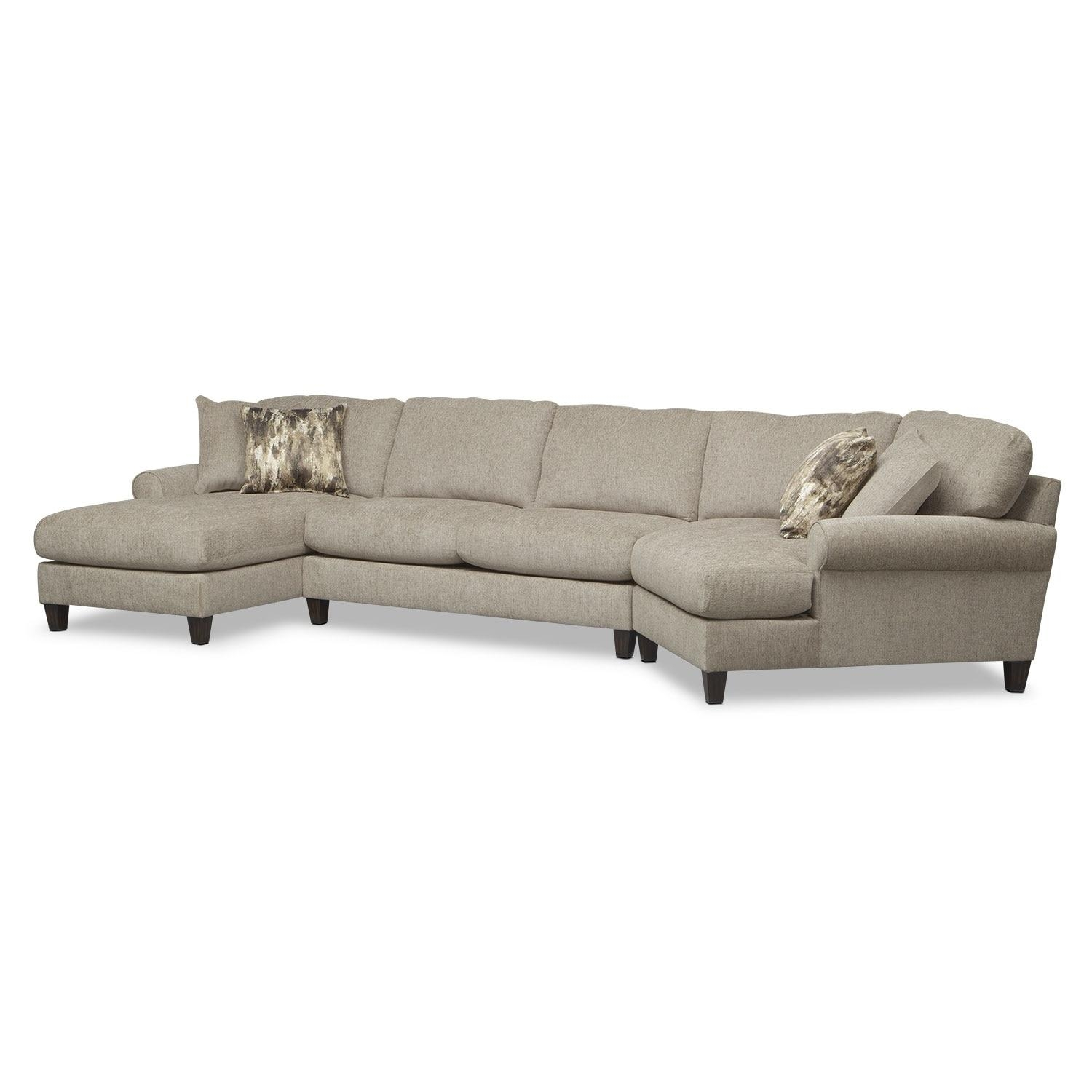Karma 3 Piece Sectional With Right Facing Cuddler And Left Facing Pertaining To Sectional Sofa With Cuddler Chaise (View 15 of 20)